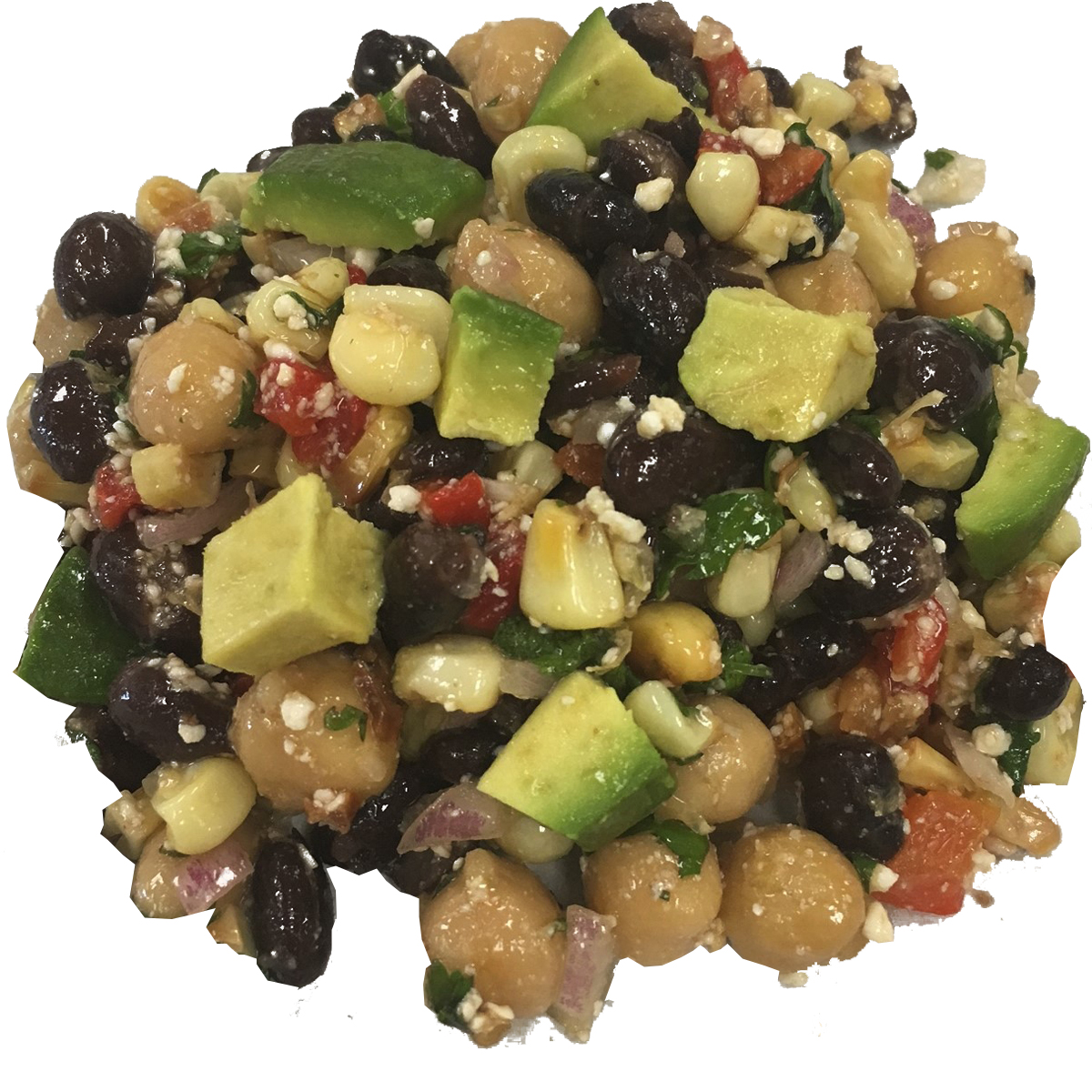 Black Beans with Roasted Sweet White Corn - Protein and amino acid packed low salt black beans and garbanzo beans are tossed with our roasted corn taken from fresh sweet white cobs. We add diced red onion, fresh cilanto and cotija cheese. Then we top it with creamy ripe avocado.Dressing: enfuso mango white balsamic vinegar and enfuso chili cilantro olive oilCalories per serving: 150Price/lb: $10.00