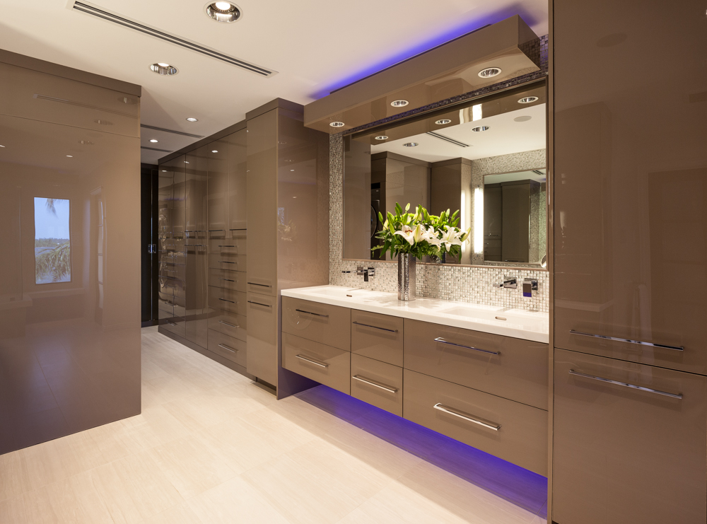 Contemporary   This elegant award winning design uses wall panels finished in Lustrolite Acrylic to increase light reflection and durability.