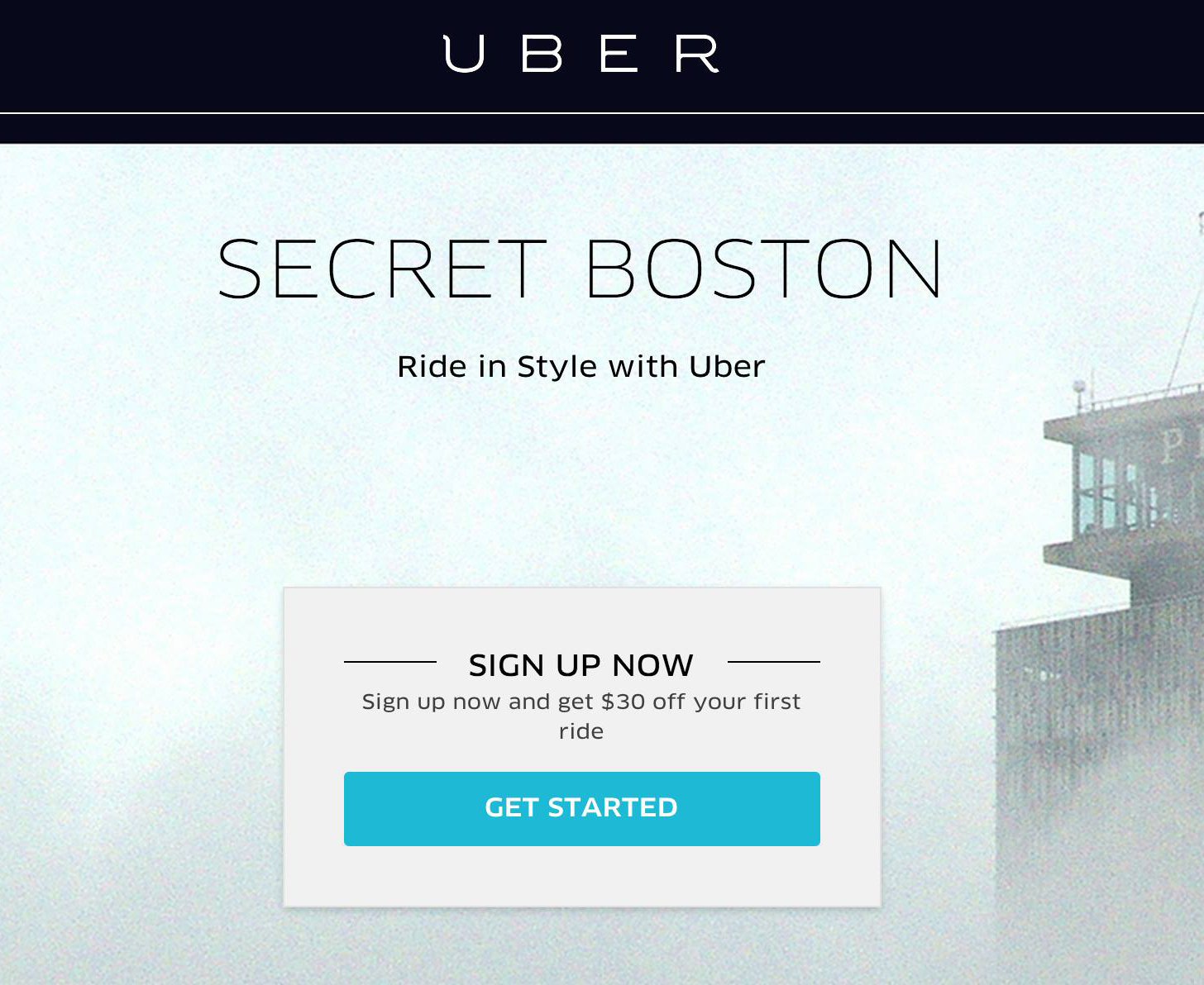 "Signup for UBER on our page and get $30 bucks off first ride ->  https://get.uber.com/cl/secretboston/        ""ヽ(´▽`)ノ"""