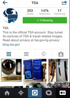 TSA's Instagram mobile profile