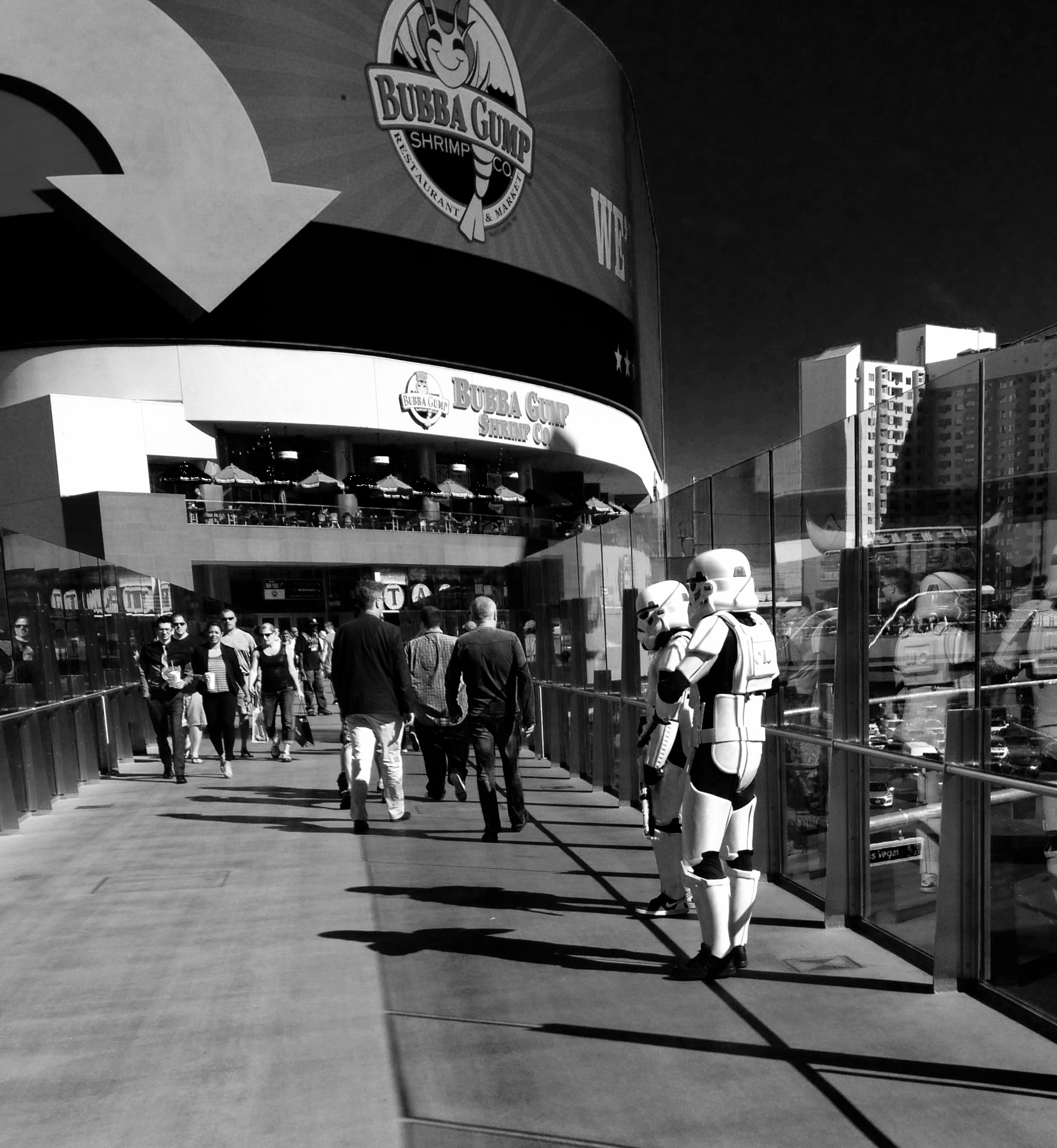Vegas - the city where it's not unusual to see stormtroopers, Olaf, or Chewbacca hanging out on a sidewalk. Of course the intent is that you pay to have your picture taken with them...I snapped this shot on the down low.