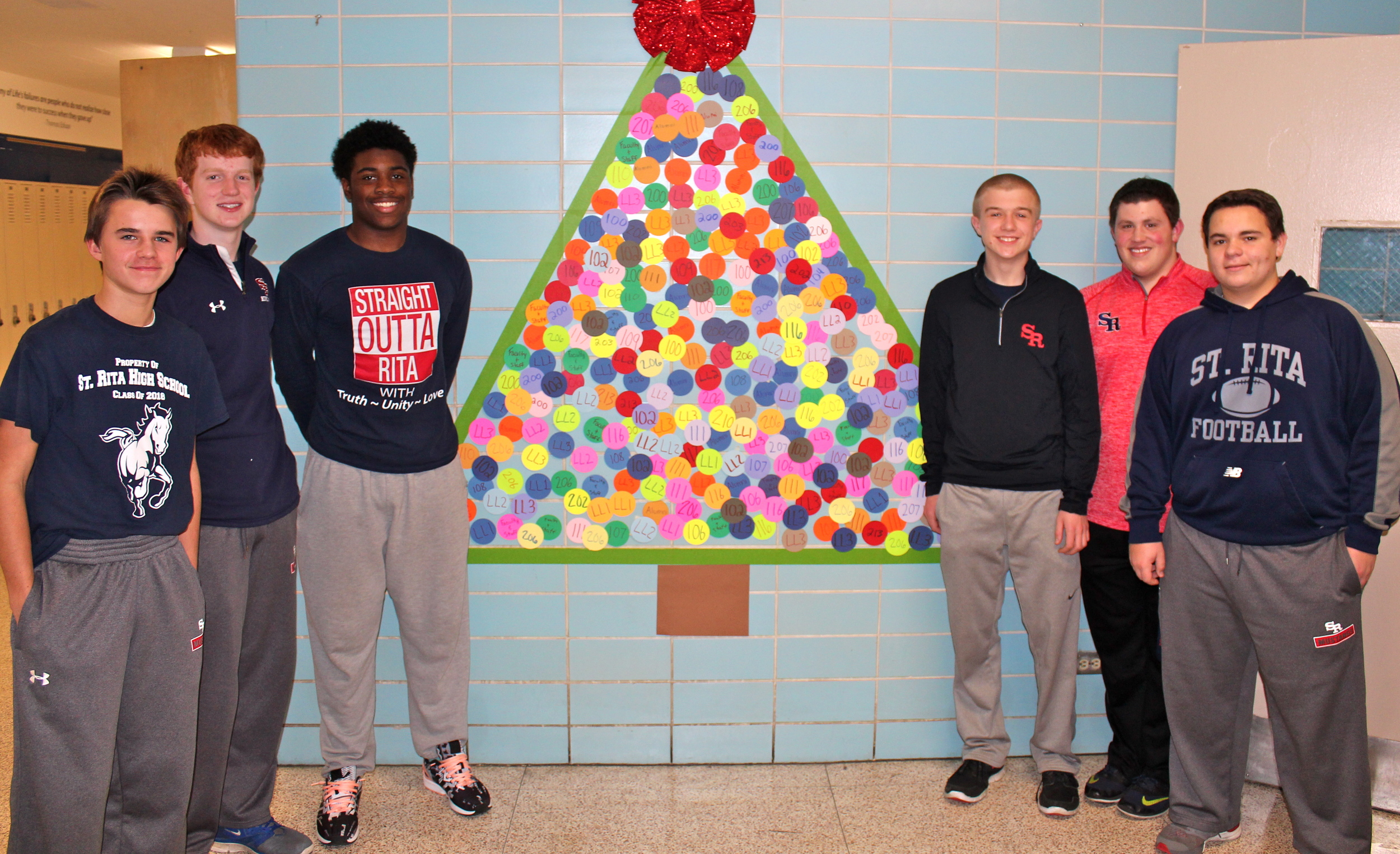 Sophomore Student Government Officers at the St. Rita Giving Tree. (L to R):Will March, Liam Connolly, Louis Cox,Payton Condon, Chase Marshall, Connor Cahill