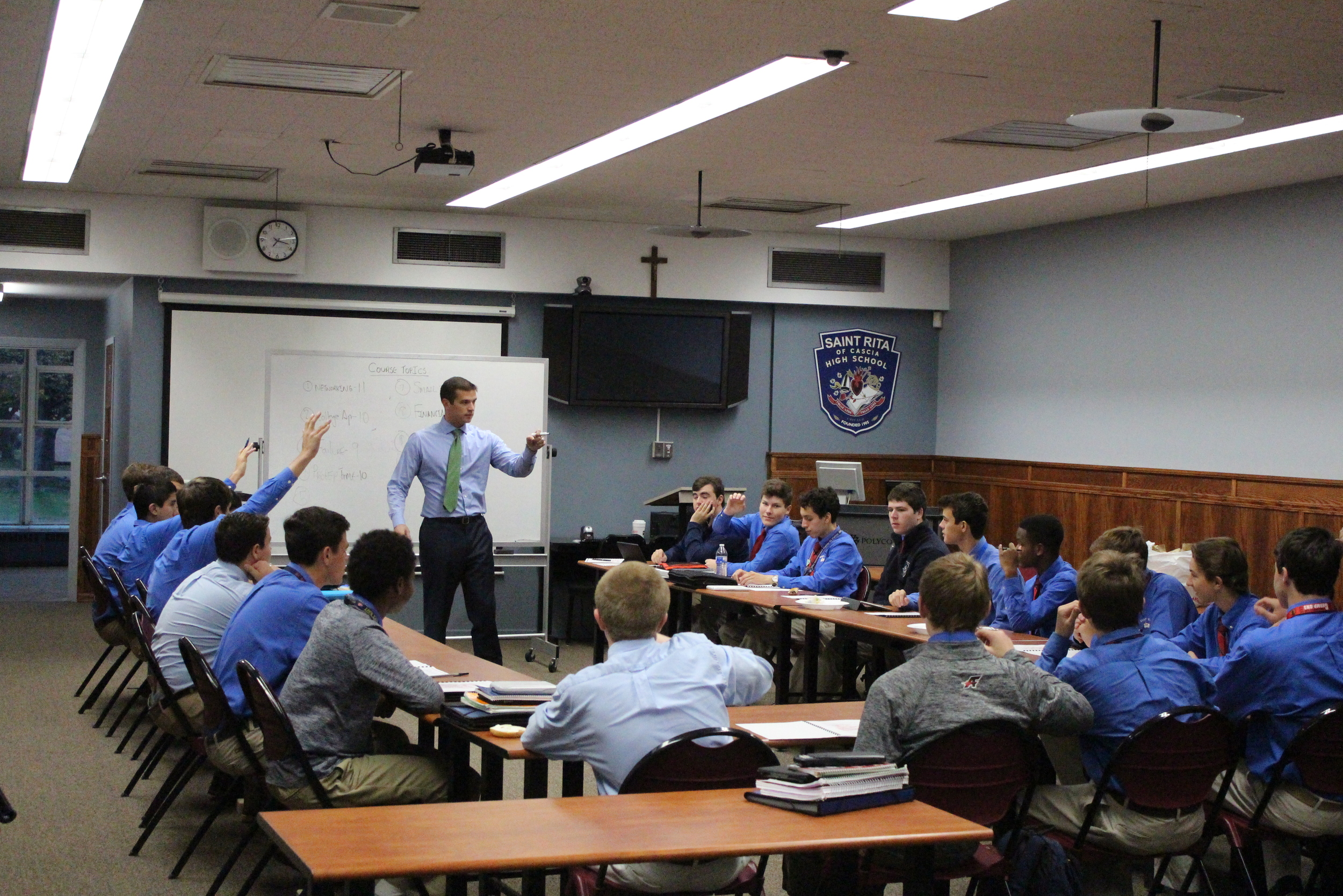 "Nick LoMaglio '04 teaches ""ABC's of a Ritaman"" before the school day begins."