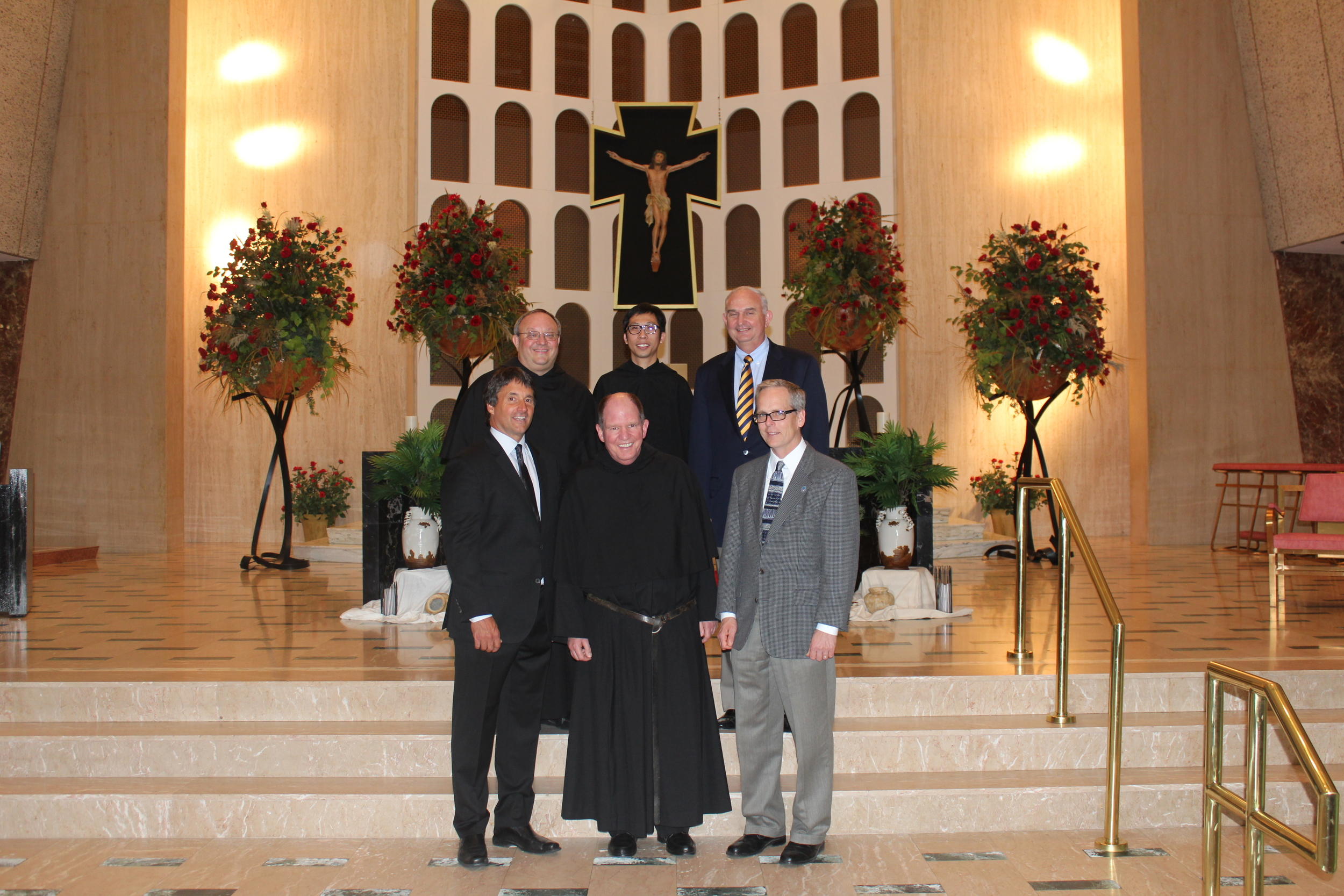 Pictured is the St. Rita of Cascia High School leadership team following the announcement of new appointments.   Front row, from left: Mike Zunica, new President and Chief Advancement Officer; Fr. Paul W. Galetto, new Head of School and Chief Executive Officer; and Principal Brendan Conroy.   Back row, from left: The Very Rev. Bernard C. Scianna, Augustinian Prior Provincial; Fr. Richie Mercado, new Director of Augustinian Mission and Chaplain; and Ernie Mrozek, who resumes his role as Chairman of the Board.