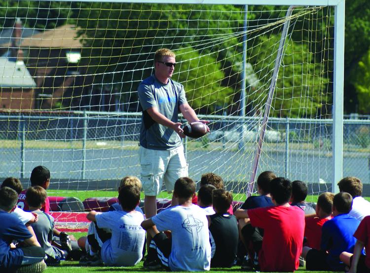 Ryan Donahue '06 at St. Rita Football Camp