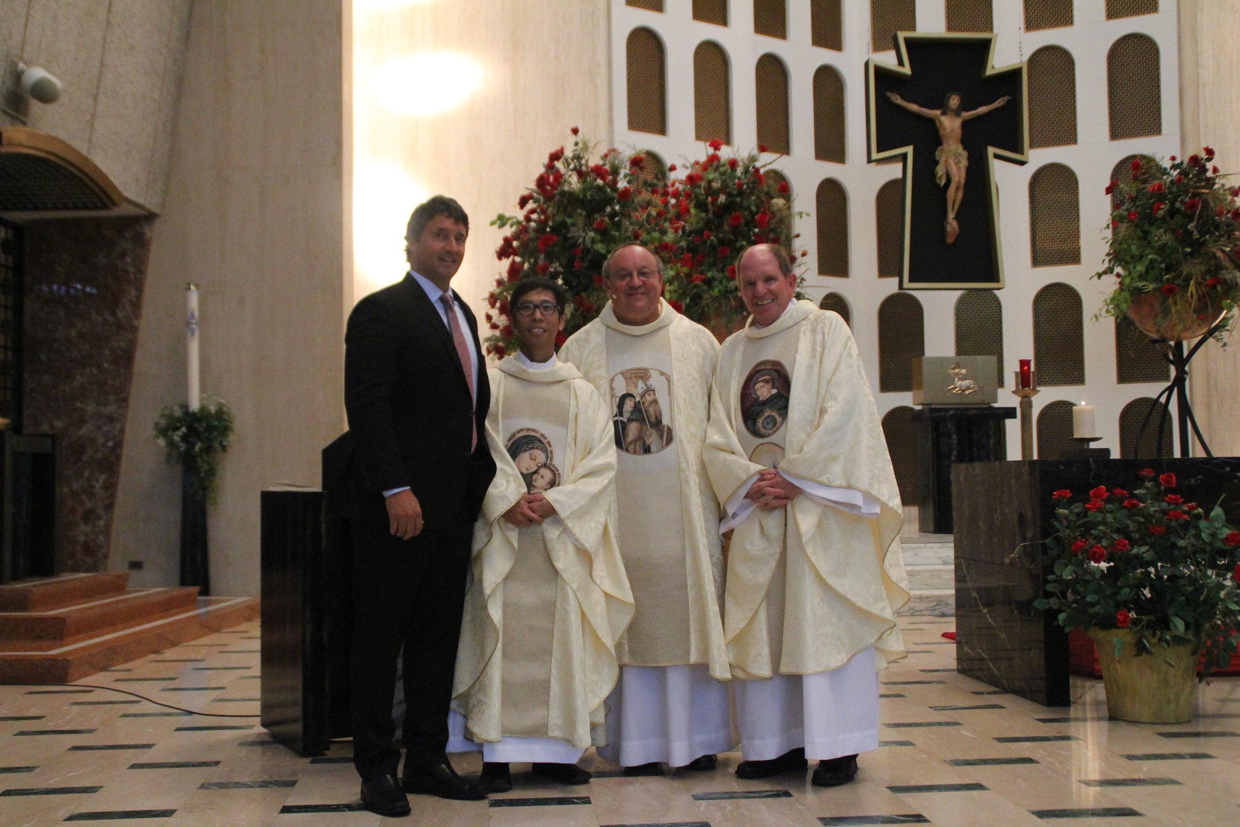 (L to R): Mr. Mike Zunica (Hon.), Fr. Richie Mercado, O.S.A., Fr. Bernie Scianna, O.S.A. '83, and Fr. Paul Galetto, O.S.A.