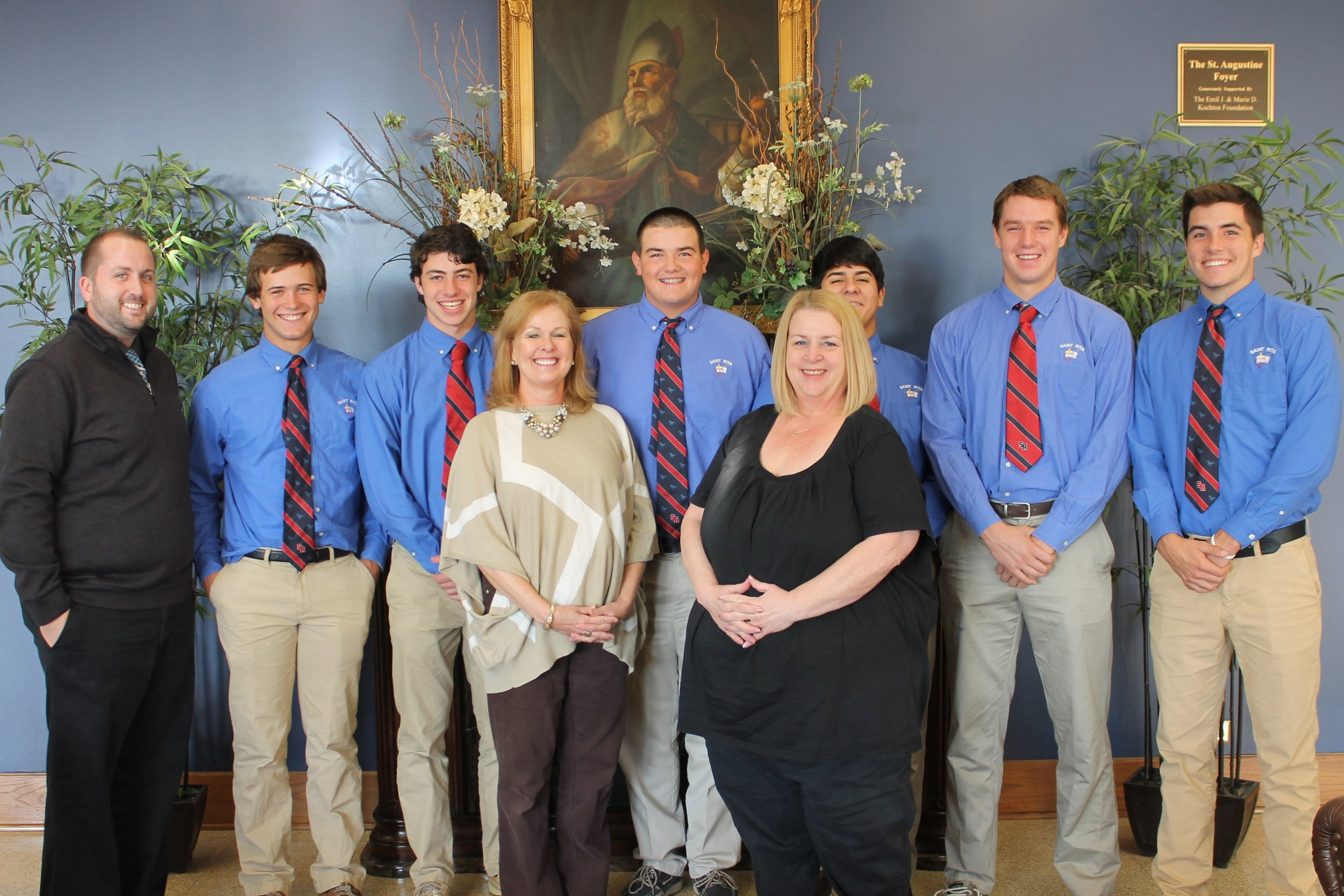 Pictured the Class of 2017 St. Rita of Cascia High School Student Government Officers (L to R):Mr. Josh Blaszak '02, Sean Macander, Joey Henze, Bobby Gikas, Nick Durham, Tim Zaleski and Connor Kelly.