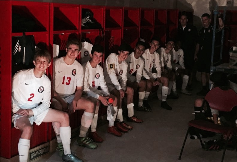 St. Rita Soccer players in the new locker room on Senior Night