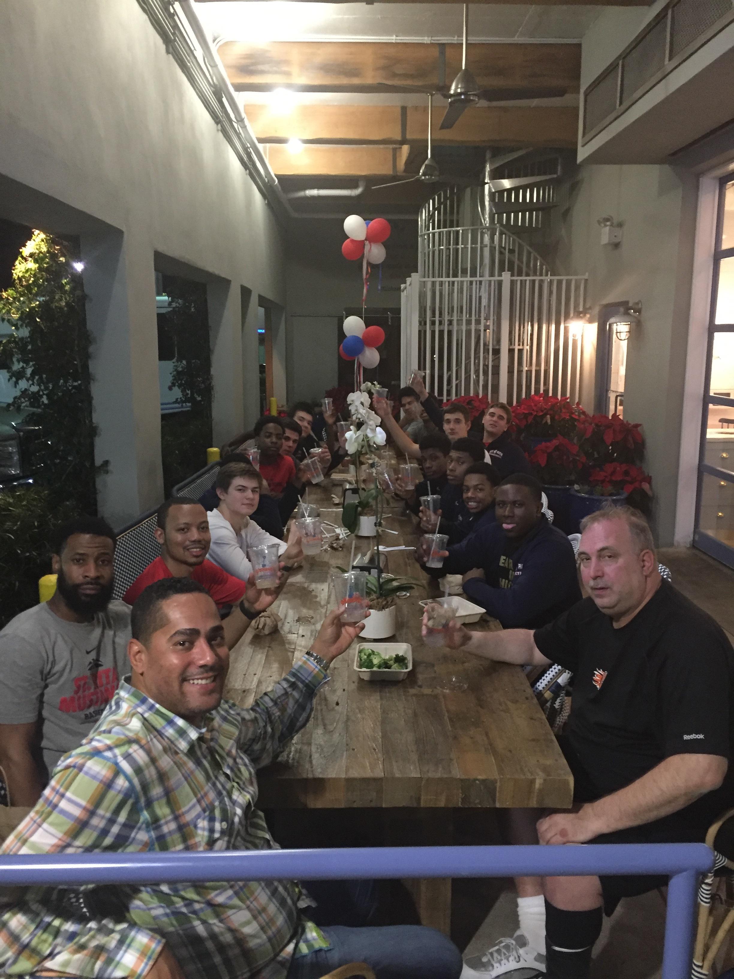 St. Rita Basketball team dinner at Ray Allen's restaurant Grown