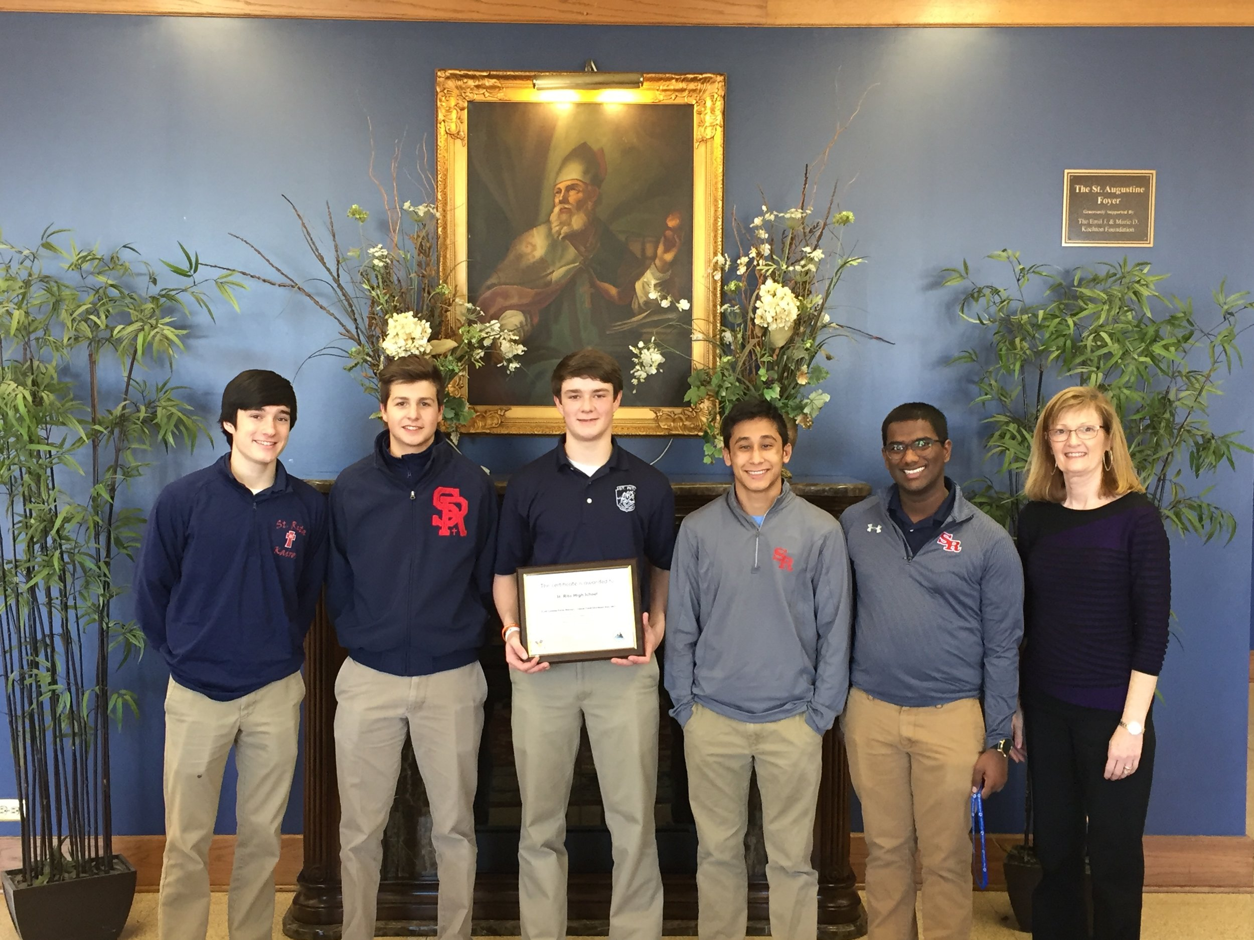 Pictured: L to R: Brian Murphy '17 (St. John Fisher),  Nino Rizzi '17 (Infant Jesus of Prague), Charlie Coughlin '18 (Christ the King), Orlando Rojas '17 (St. Benedict), Victor Martinez '18 (St. Barnabas), Diane Merrion. Not Pictured: Nick Durham '17 (Central Jr. High)
