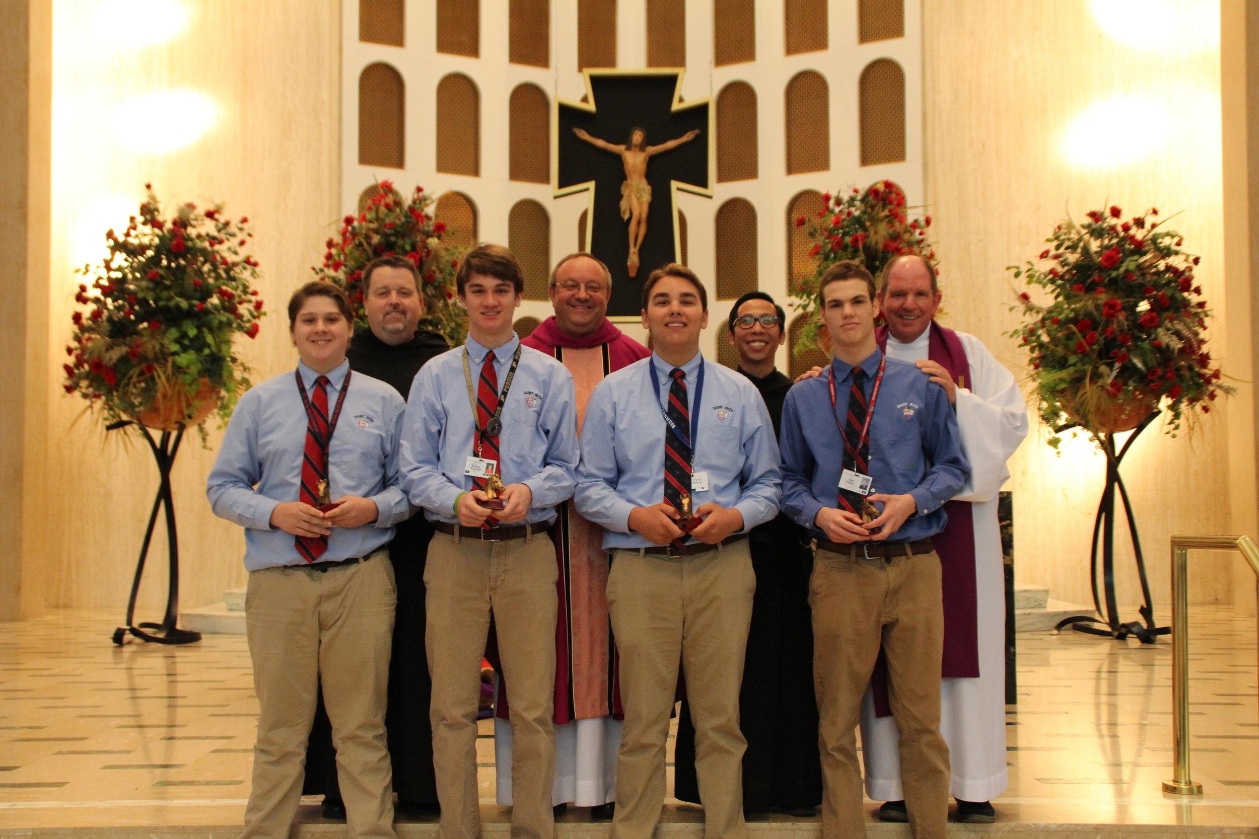 Pictured left to right: Matthew Beam, Fr. Tom McCarthy, OSA,Evan Wojcicki, Fr. Bernie Scianna, OSA, Brian Gralek, Fr. Richie Mercando, OSA, Joe Qualter and Fr. Paul Galetto, OSA. (Not pictured: MIchael Jurek)