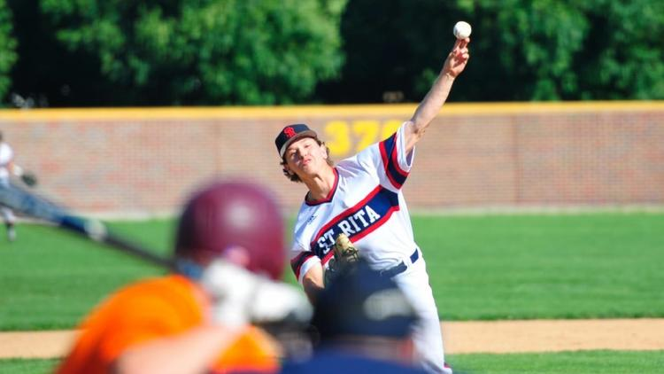 St. Rita's Steven Washilewski delivers a pitch against Brother Rice in a Class 4A St. Rita Sectional semifinal on Wednesday, June 1, 2016 in Chicago. (Gary Middendorf/Daily Southtown)