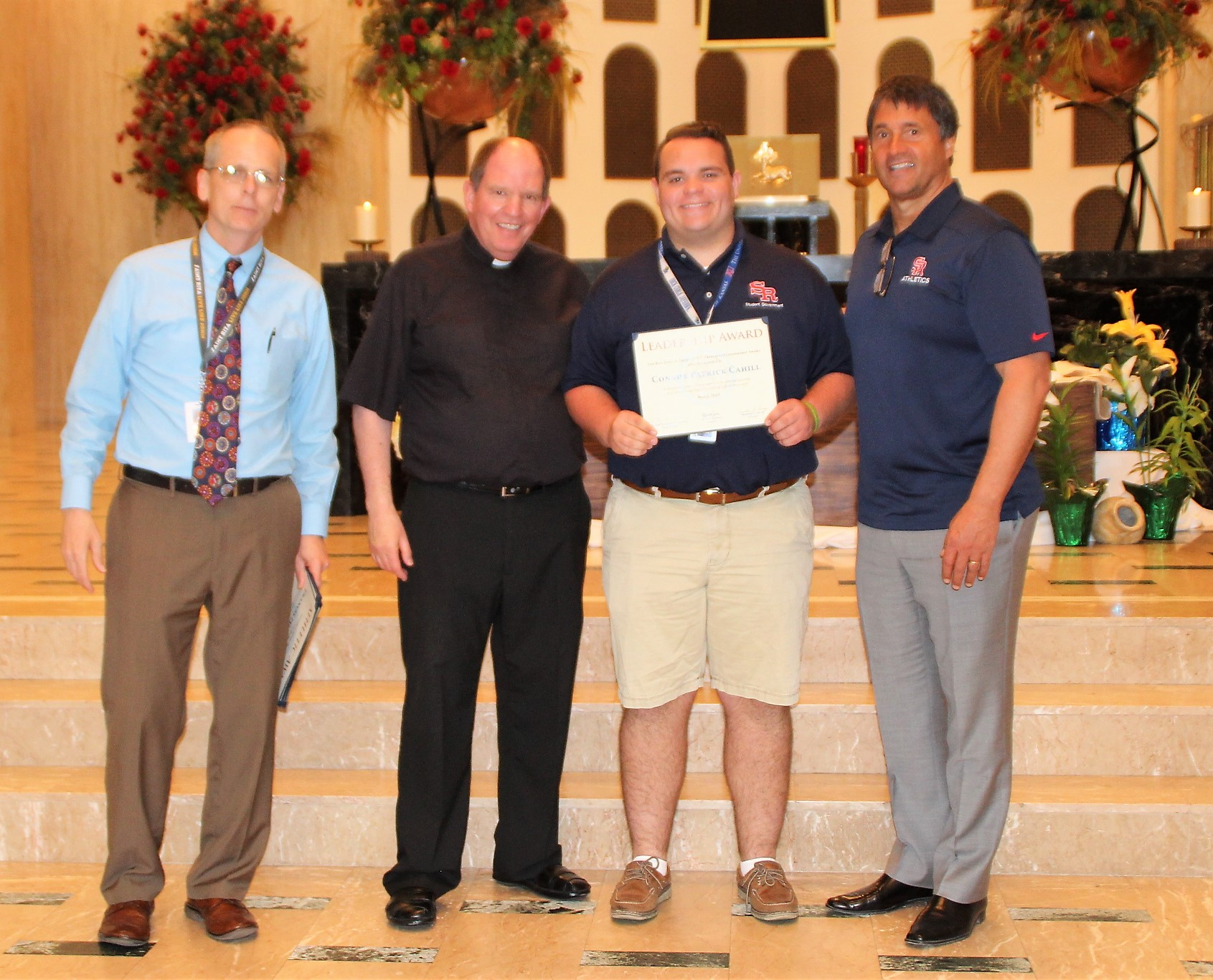 The Rev. James F. Green, O.S.A. Principal's Leadership Award is given in recognition of superior dedication and leadership at St. Rita of Cascia High School during one's high school career. The recipient is Connor Cahill.