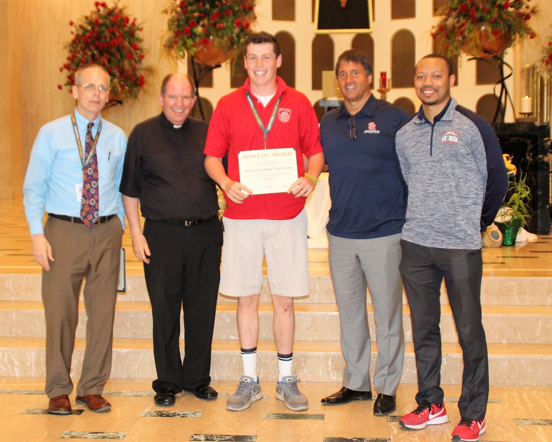 The James L. Misiora Athletic Award is given in recognition of athletic achievement at St. Rita of Cascia High School during one's high school athletic career. The recipient is: Frank Napleton.