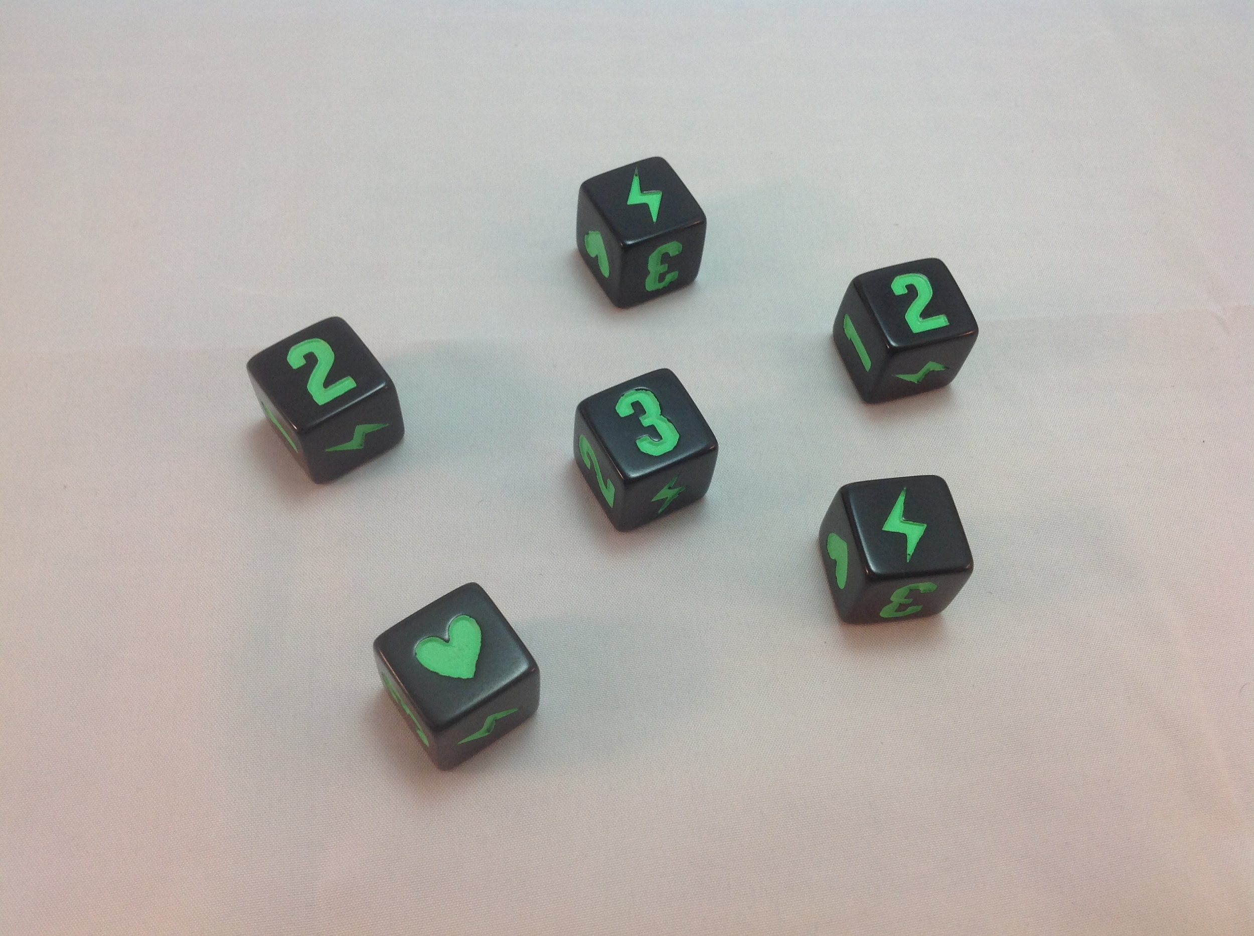 Players roll six dice at the beginning of every turn.