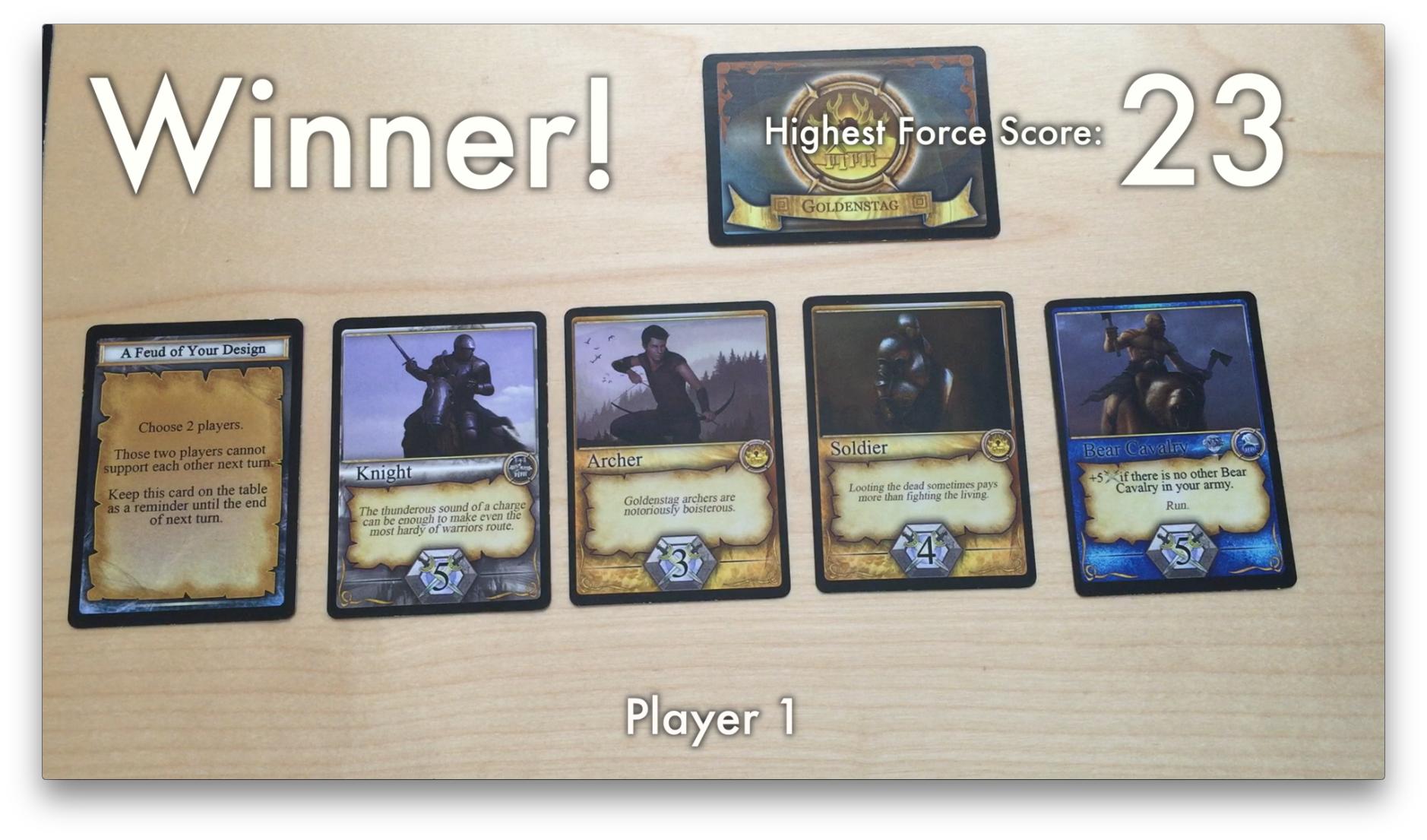The winning army with 23 force points.