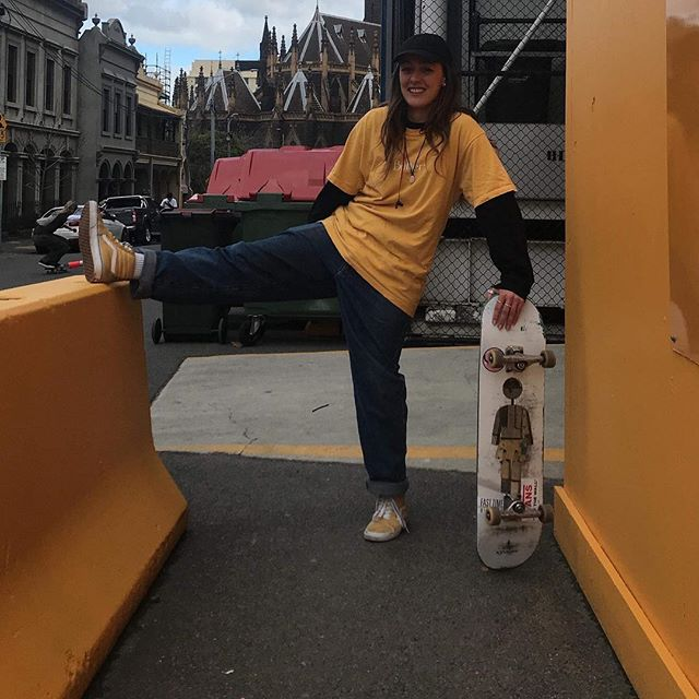 """I planned ahead and coordinated matching outfits with my friend, skate spot.. we said """"yellow 📞 """" 😂🌻"""