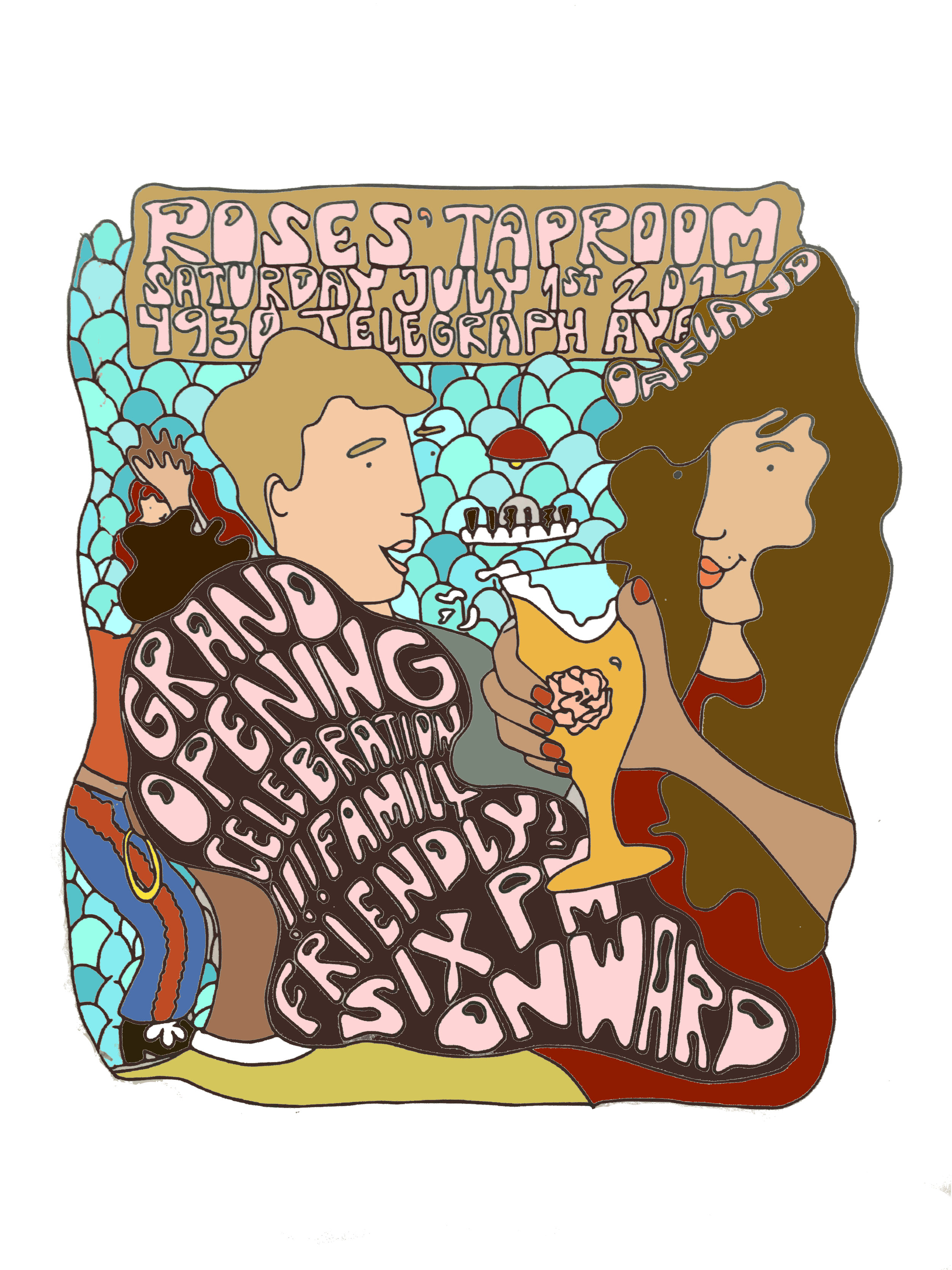 Grand Opening Poster, Roses' Taproom