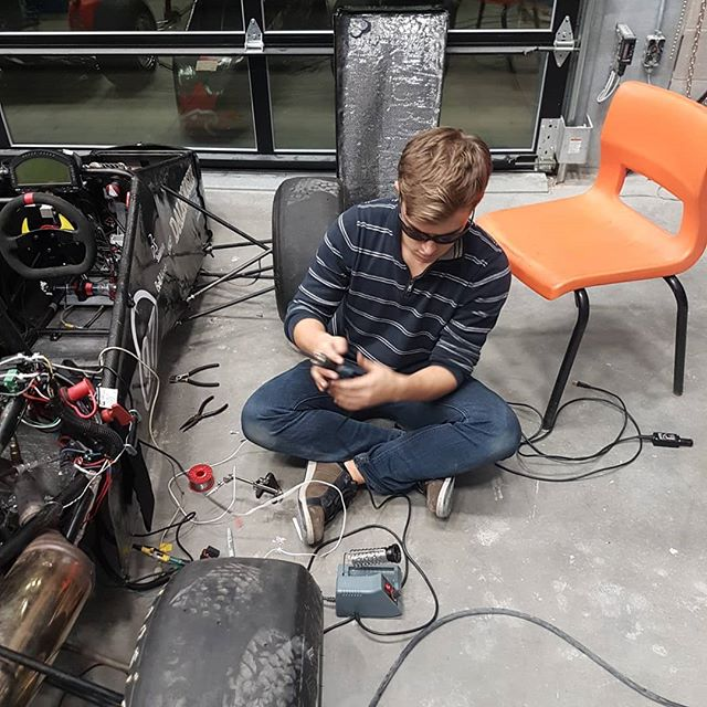 Huge shoutout to @mitch_gregory for working on the car for 8 straight hours doing fuel system diagnostics! Time for a well deserved break. We also have a new fuel pressure sensor and suspension motion tracking for even better telemetry.  #racecar #hondamotorcycles #honda #dalhousie #engineeringlife #halifax #novascotia #racing #f1