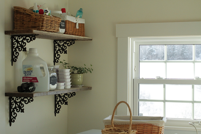 This is the laundry room; it's a tiny little space with just enough room for the washer and dryer. The window looks west, at our back field and the edge of the woods where the deer graze most evenings. All of the walls throughout the house are off-white; the colour is Style at Home's Window's Dress, available at Home Hardware. It is the perfect off-white. Itchanges subtly with the light, is always warm, bright and inviting.