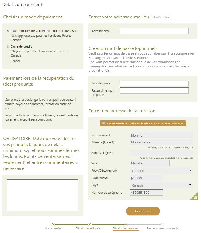 6. Choisir si vous payez à la livraison ou maintenant par carte de crédit