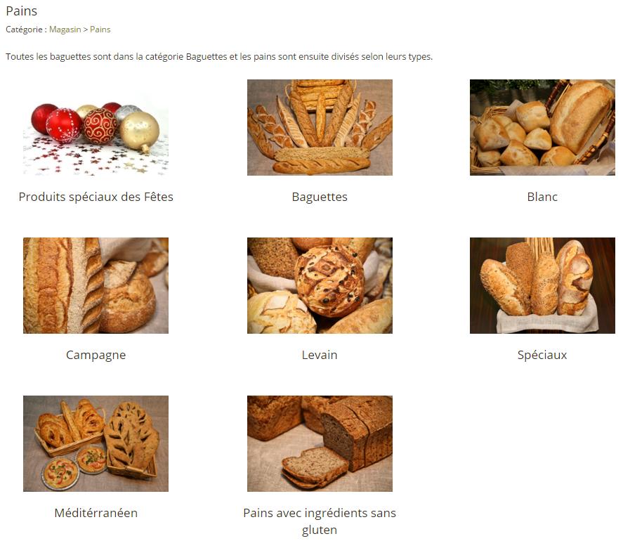 2. Choisir la sous-catégorie de produits (s'il y en a une)