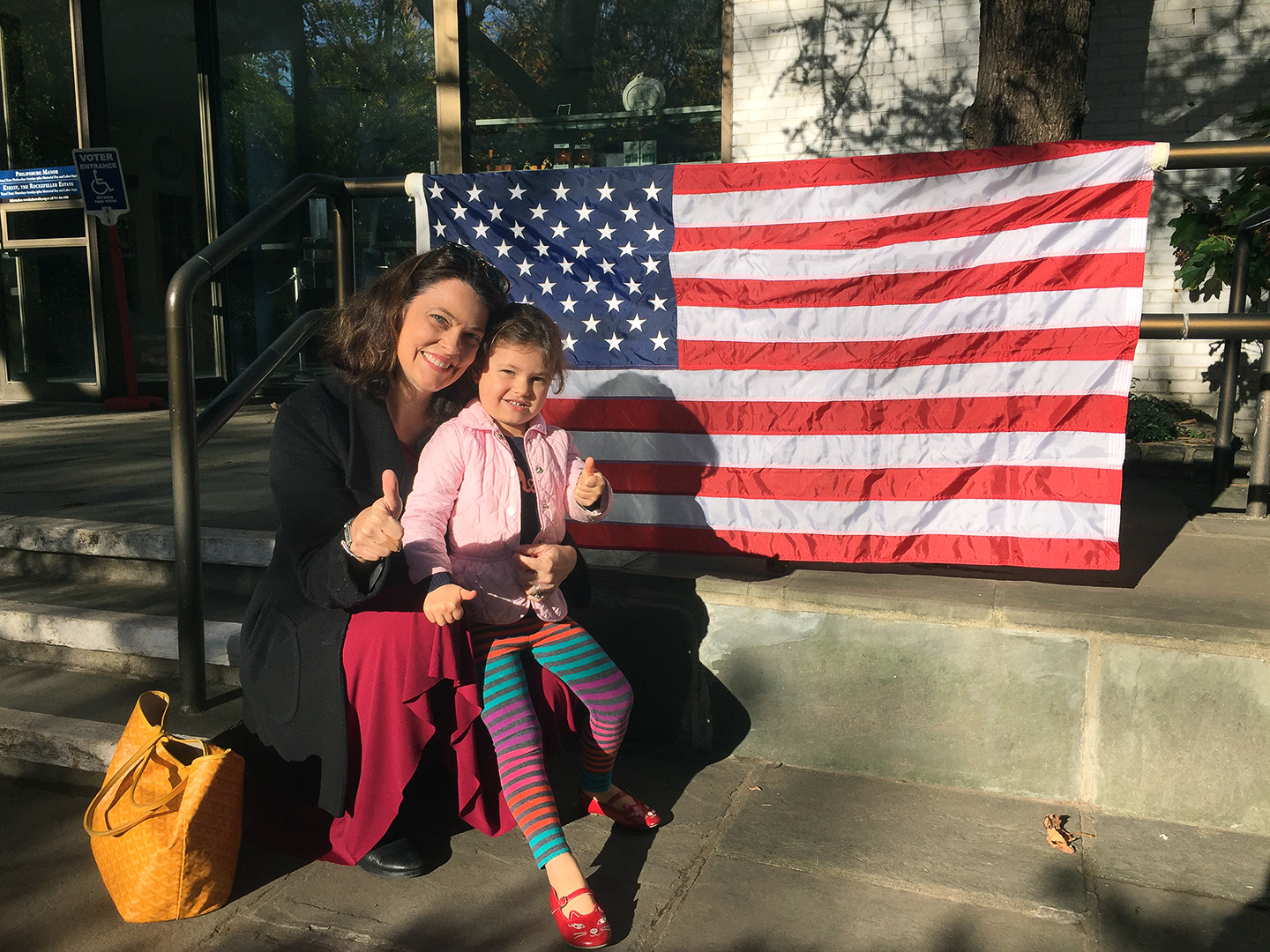 """What pride I felt to be able to vote for a WOMAN with my 3 1/2-year-old daughter, Emery.  God bless America! May Hillary's example continue to inspire the younger generation of strong women.""    ––Christine Ritzen, Producer, CBS News, New York, NY"
