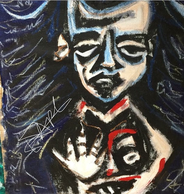 "Elizabeth Rexer Leonard: mixed media on wood 2016-""Hand Eyes & Mouth"""