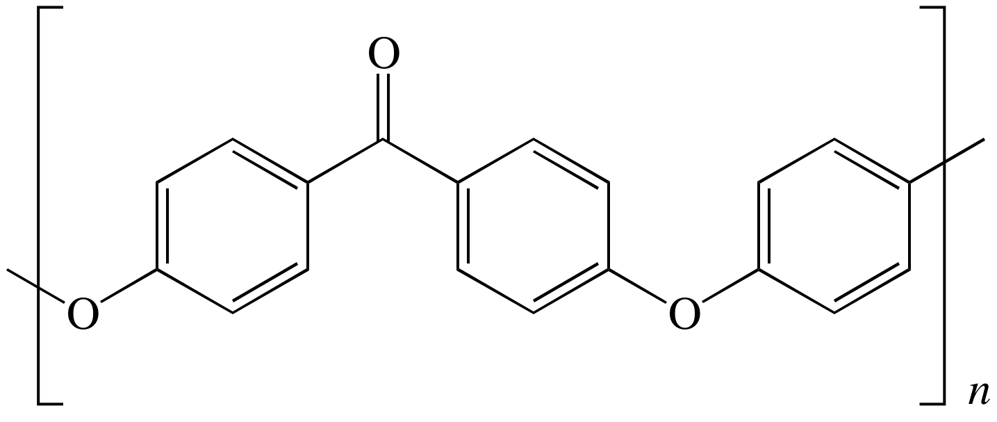 Figure 1:  PEEK repeat unit, showing ketone and ether functional groups.