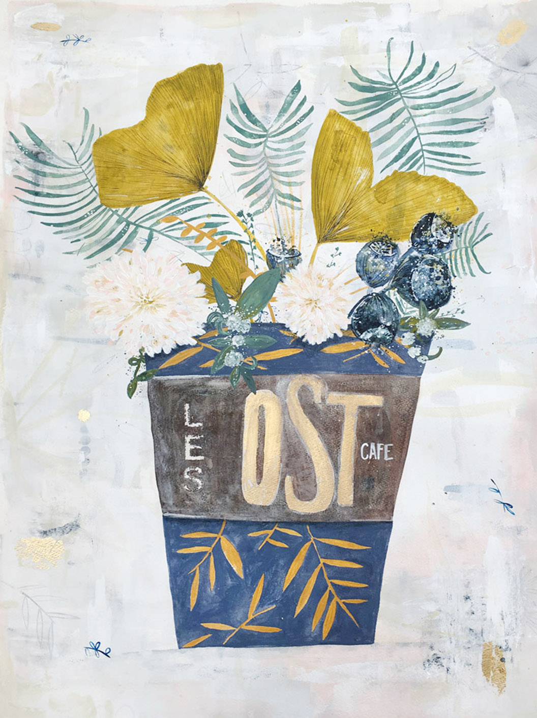 OST, Acrylic, Gouache and gold leaf on handmade paper