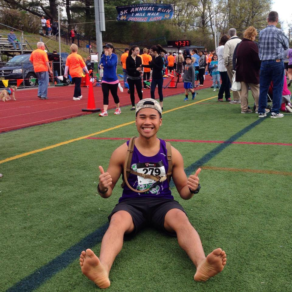 This was my first barefoot 5k in Waldwick, NJ on May 4th 2014. I ran this race faster than I did the previous year with shoes. No shin splints, no cuts and there's that smile from all the fun I had doing it!