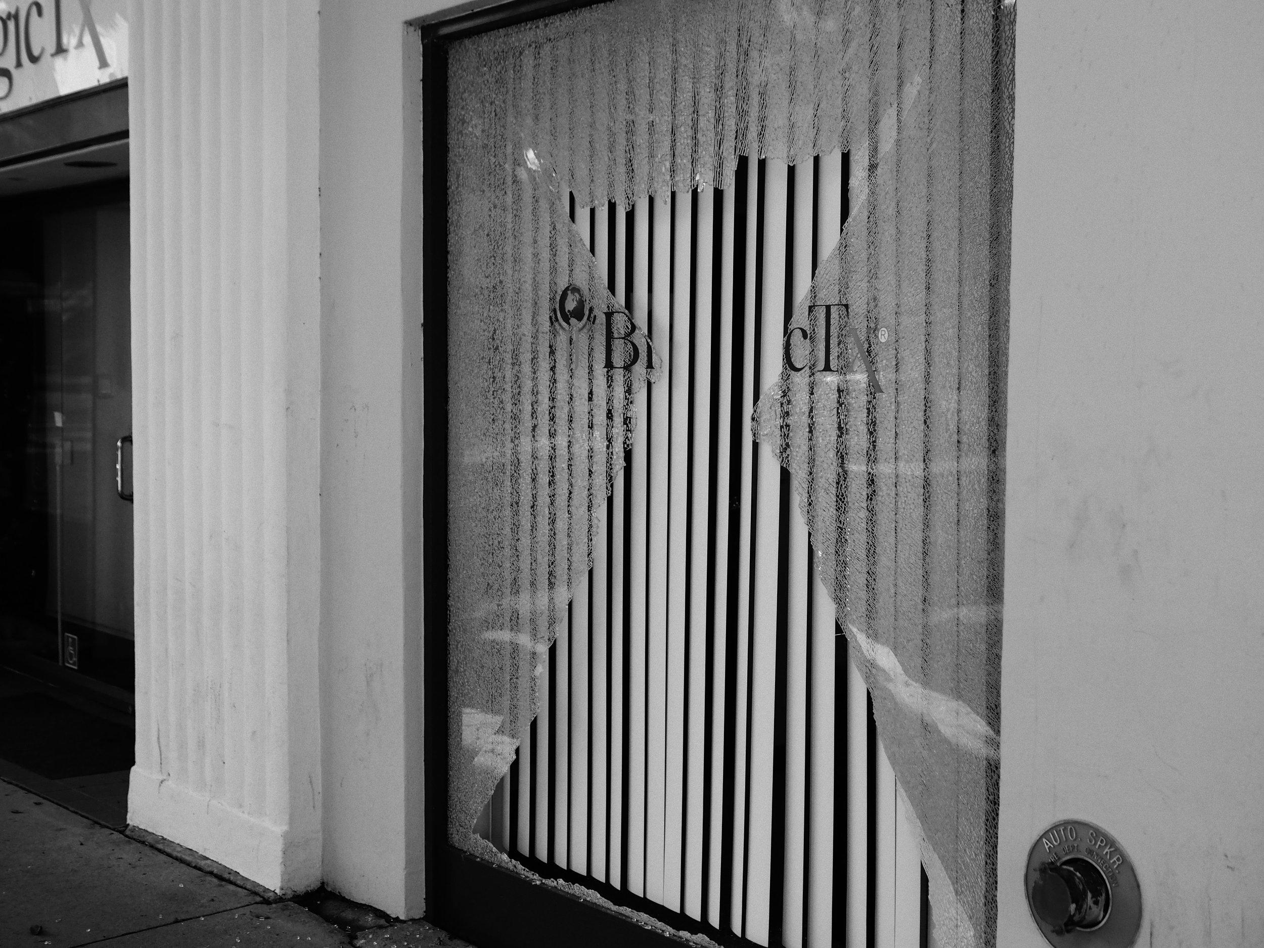 Broken Window in Westwood Village