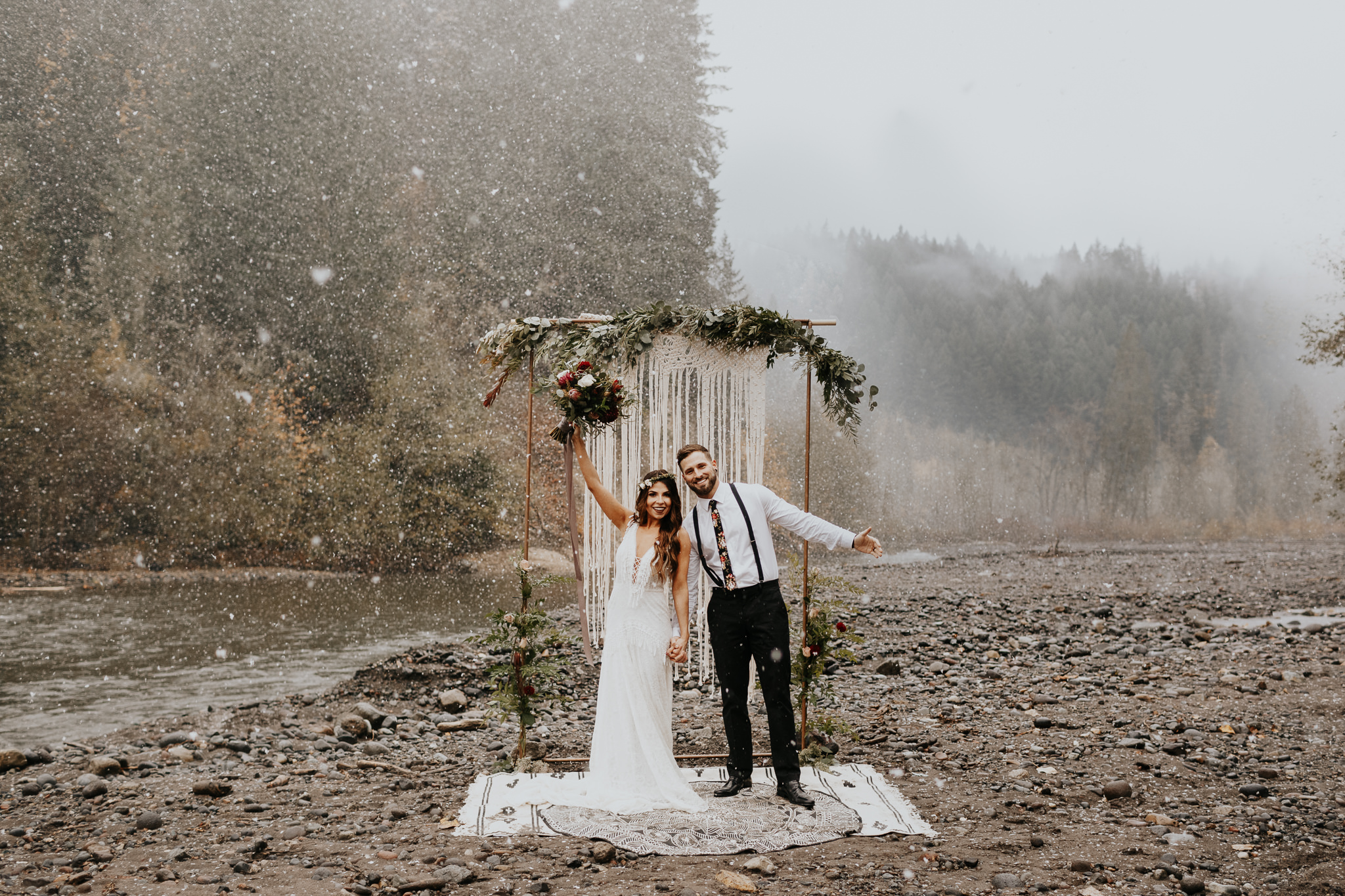 LAUREN + Ryan  snowy boho styled session