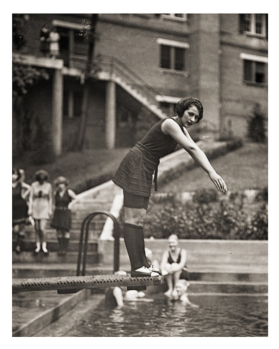 1922 Swimsuit Photo, Miss America Contestants at Hotel Pool in Washington D.C. by eebeevintage on etsy