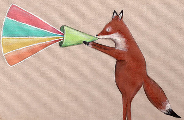 fox and megaphone image from The Black Sheep Studio on etsy