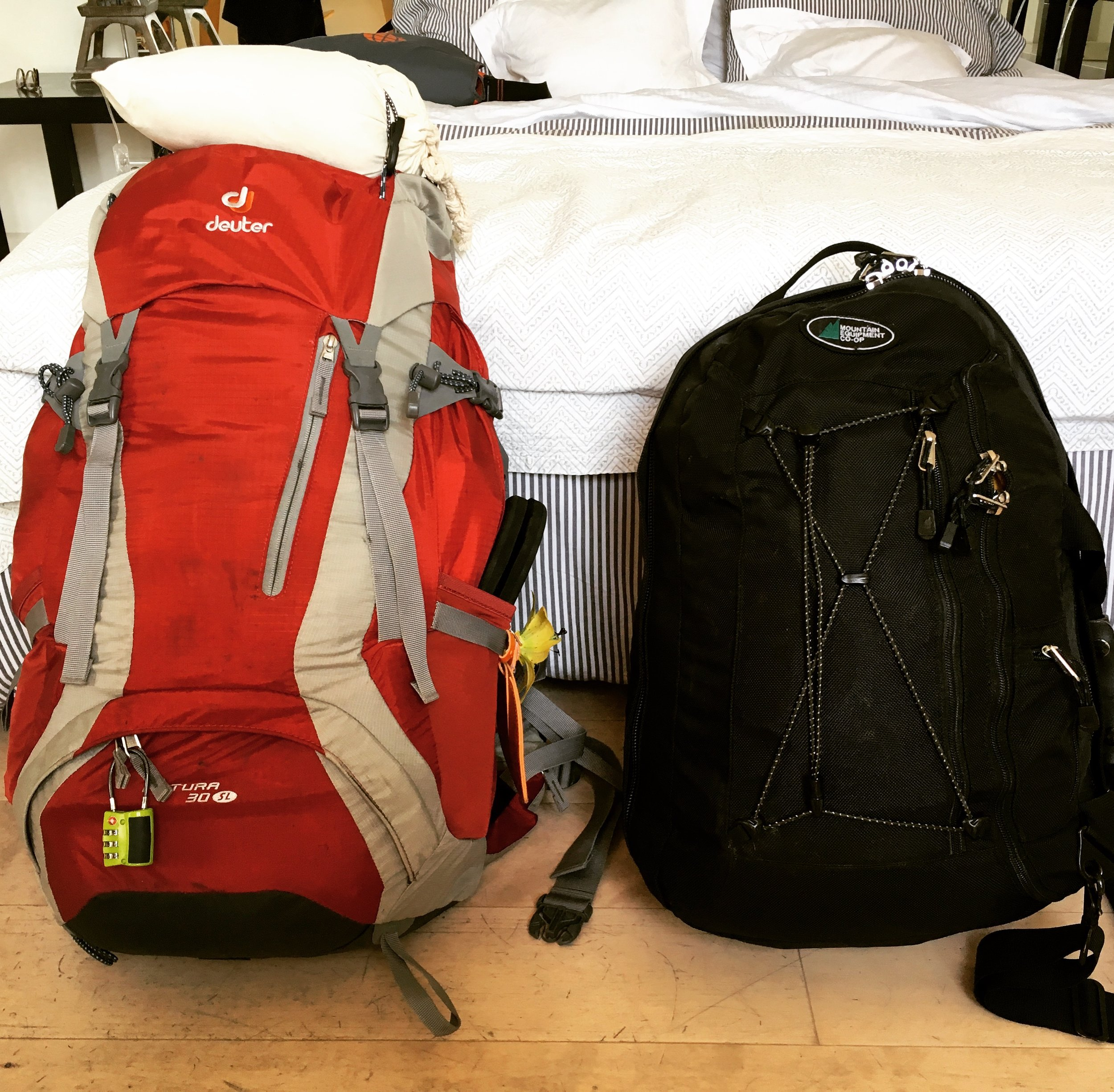 our packs, including clothes, shoes, and overnight kits, but not laptops, e-readers, and notebooks, in our St. Germain, Paris apartment.