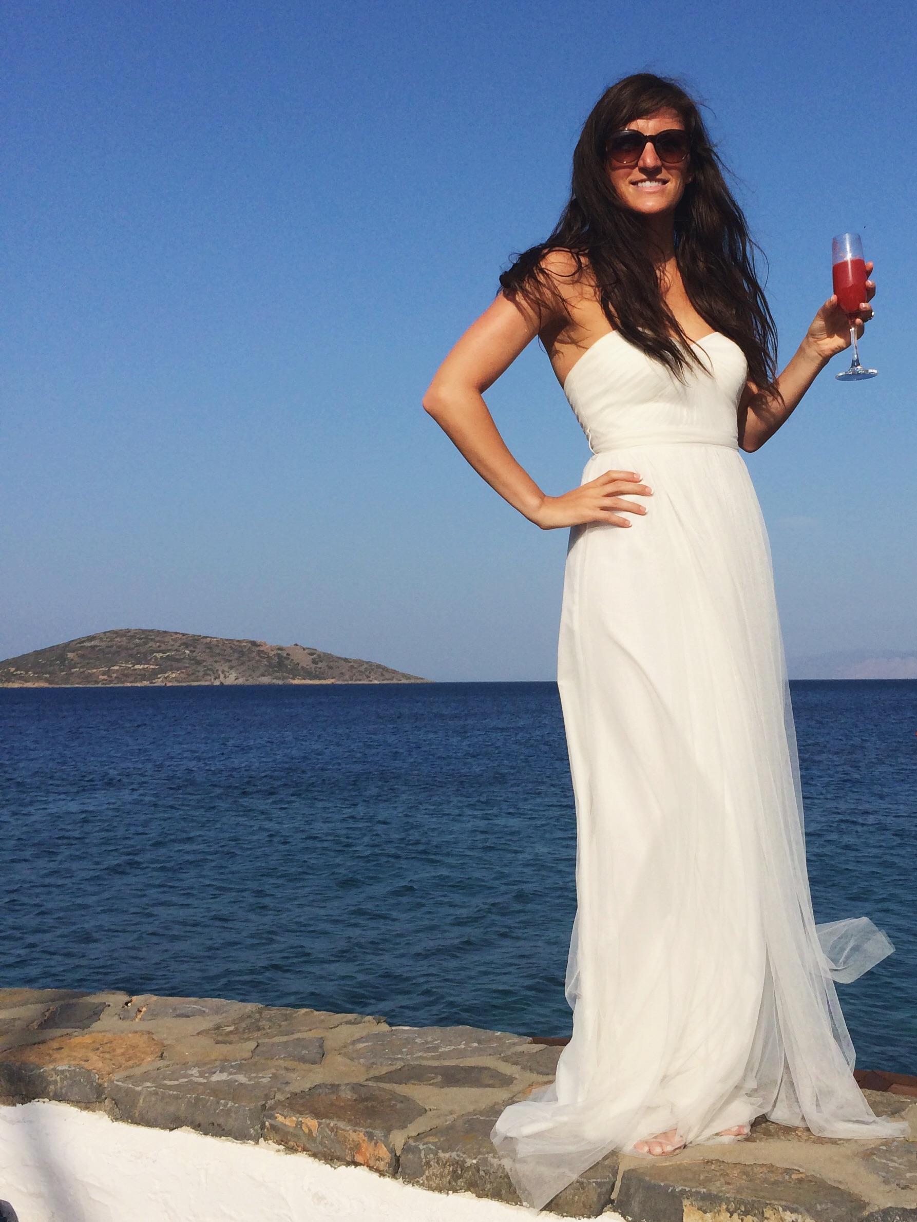 Elounda Bay, Crete with champagne