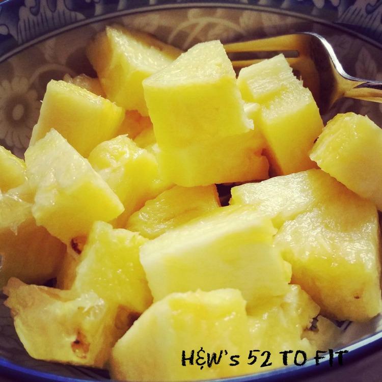 Typical breakfast...a bowl of fresh pineapple. FULL of fiber!