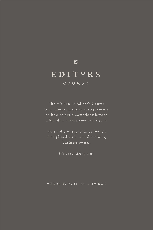 Editors Course | Branding