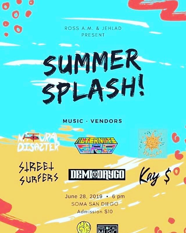 We are going all the way up for the #SummerSplash on the 28th @somasd  If you'd like to do live paintings lmk If you'd like to be a dancer or have a dance routine LMK! #summer #indymudic #sandiegoart #artist #newartist #sandiegomusic #california