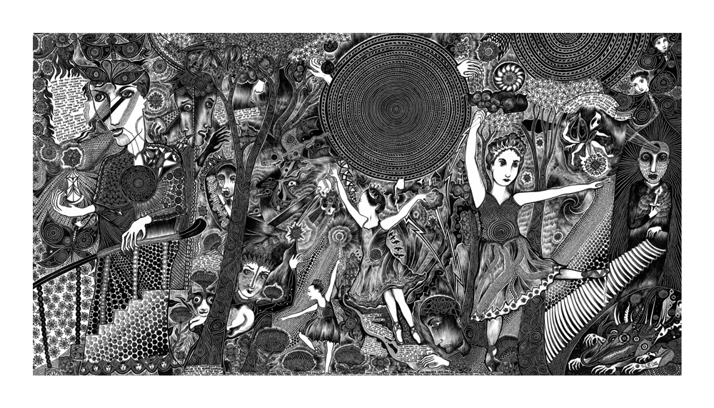 """Justin Duerr   Here the Plot Unravels   Pen & Ink   68"""" x 36"""""""