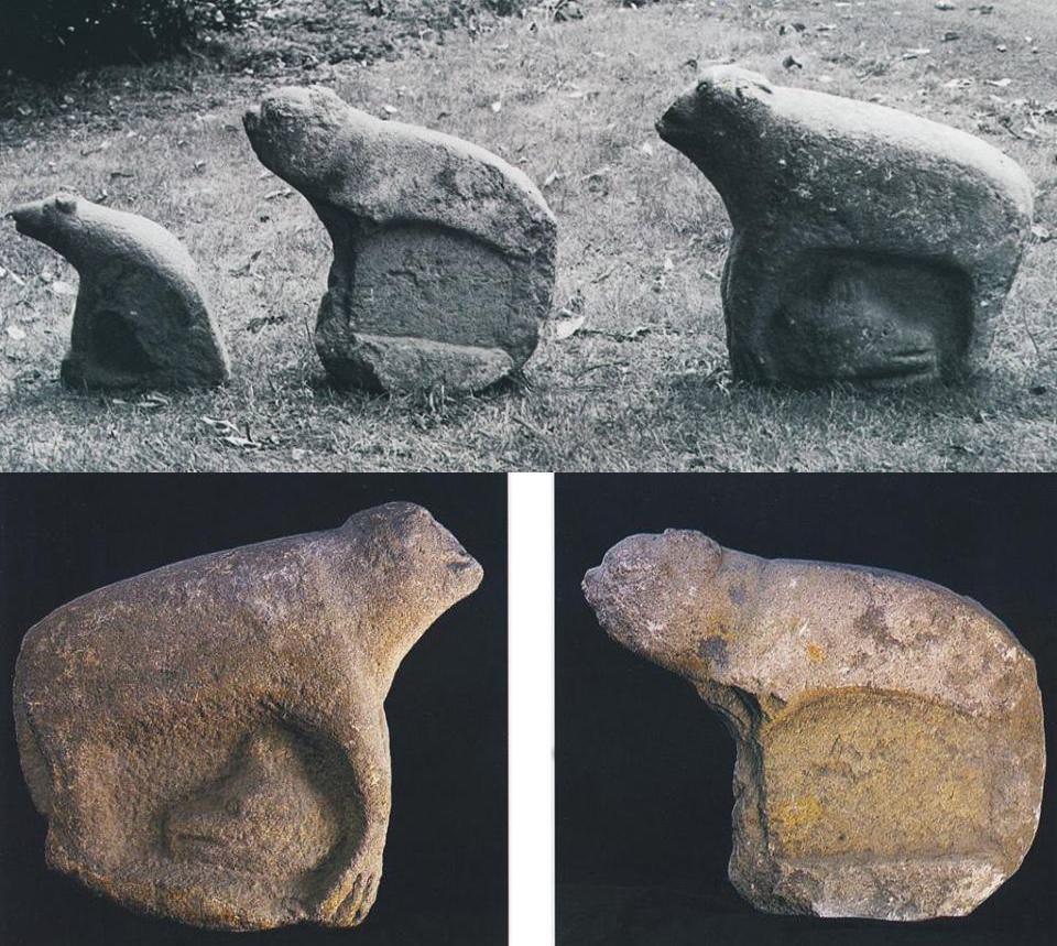 Sandstone Bear figures, Armagh, Ireland.