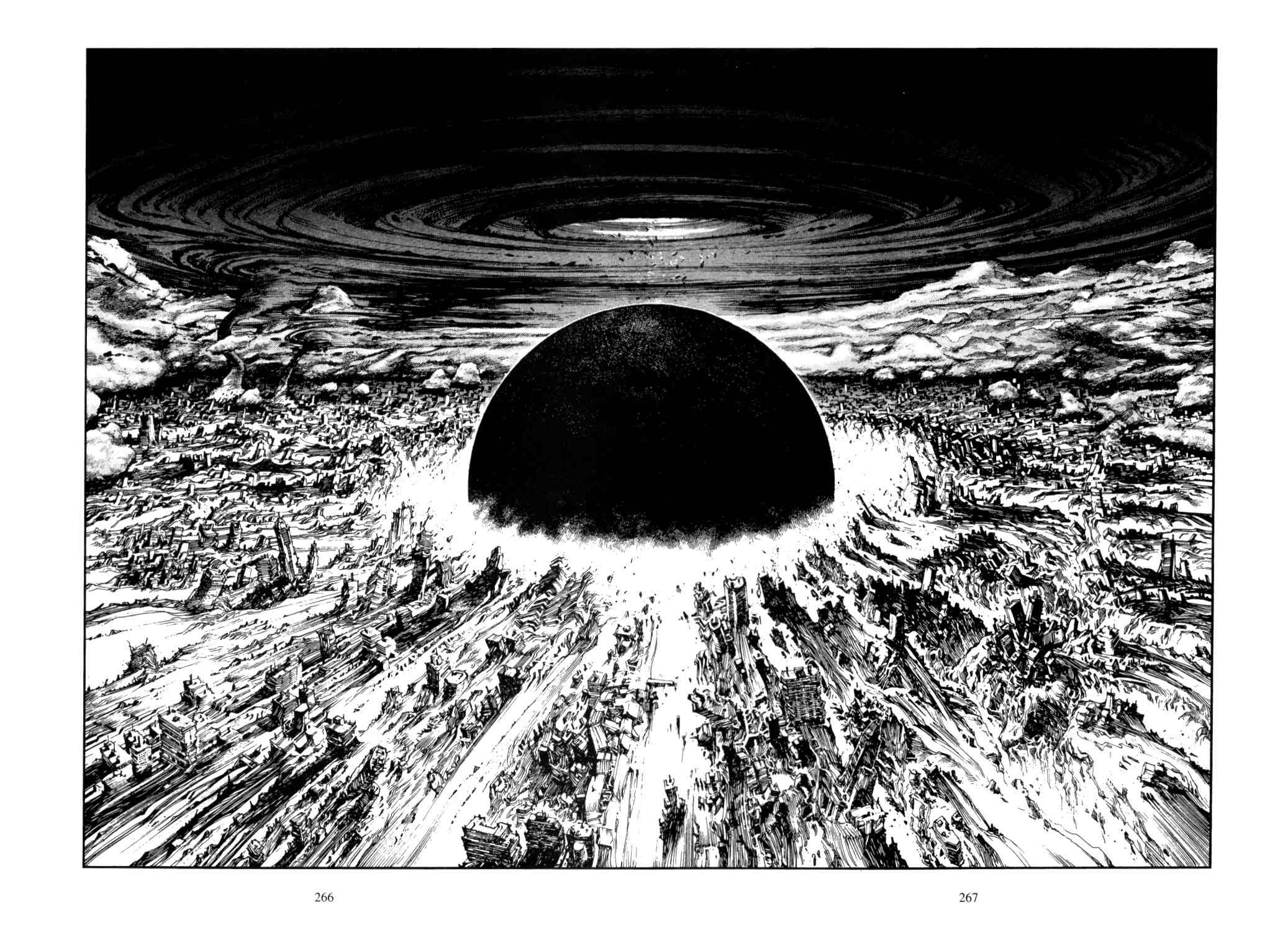 "An epic spread from Katsuhiro Otomo's manga ""AKIRA"""