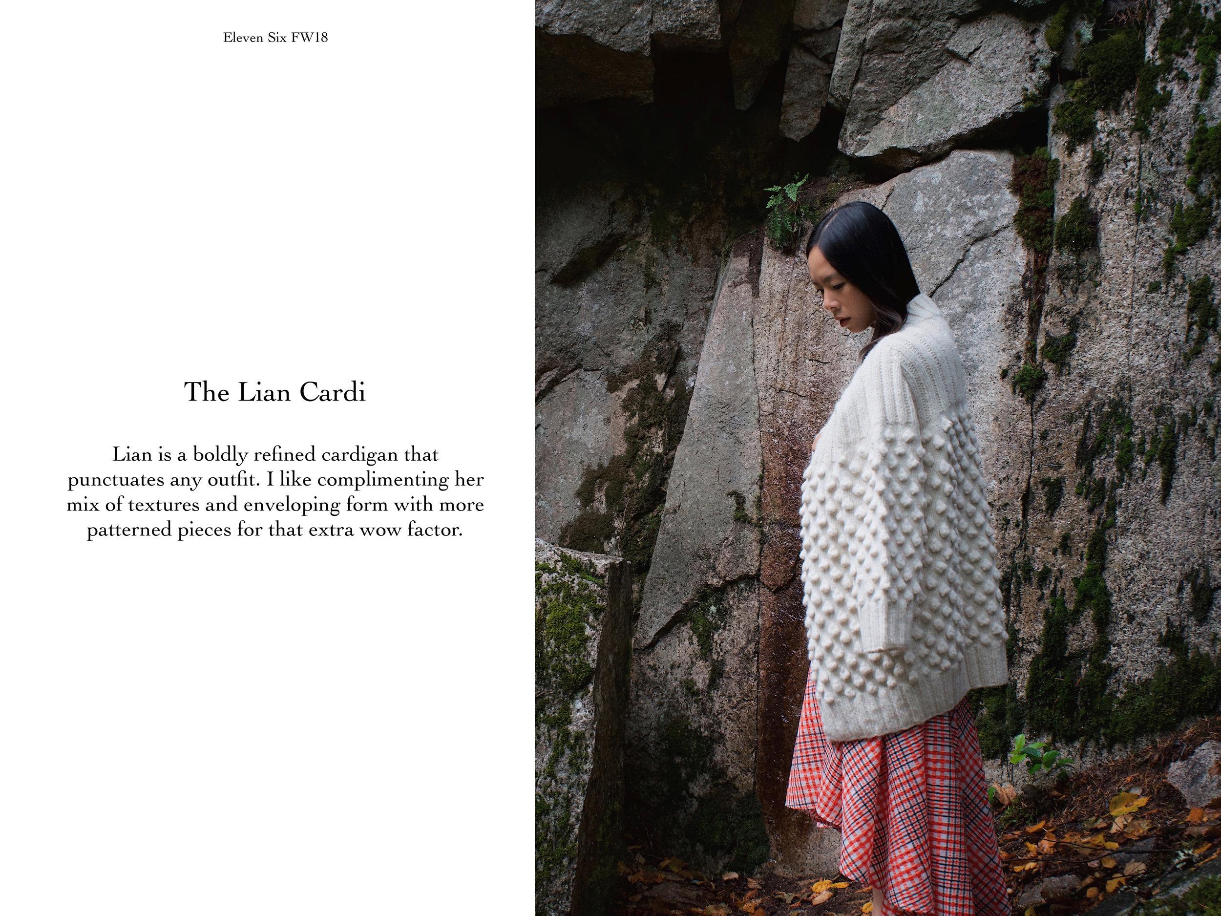 Lian Cardi in Ivory, $595  (SHOP HERE)  is hand-knit in Peru by artisan women. Lian Cardi is styled back to Jen's own skirt.