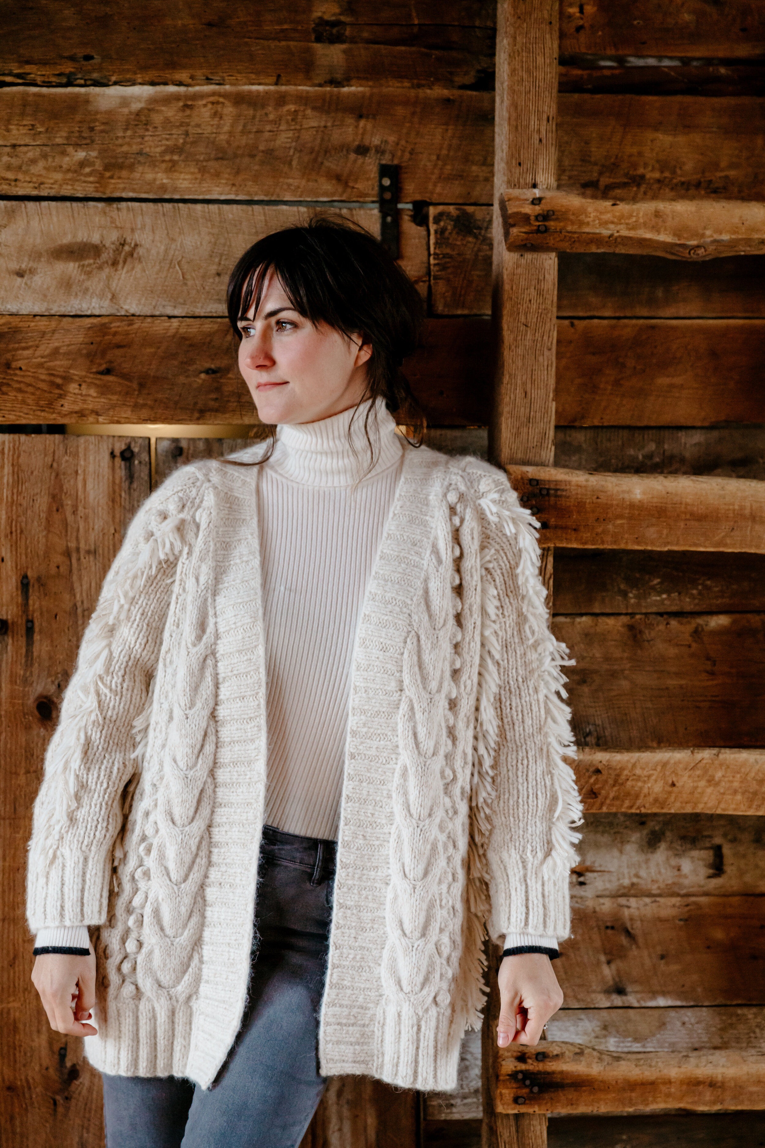 Dana wears Fall 19  Ella cardi  in Nude tweed layered over our  Edie T-neck sweater  in Ivory