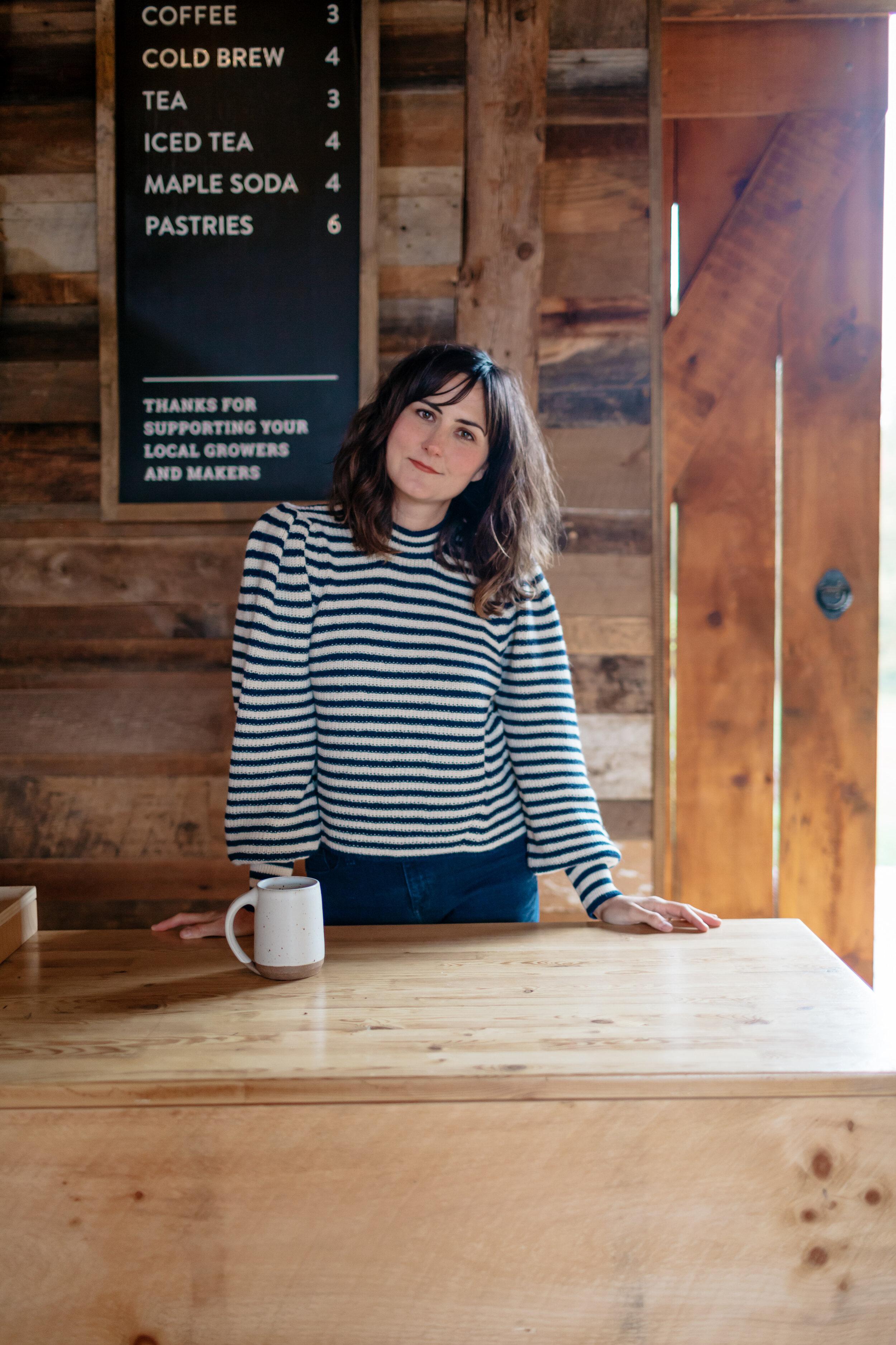 Dana wears Fall 19  Mia Sweater  in Ivory/Navy stripe