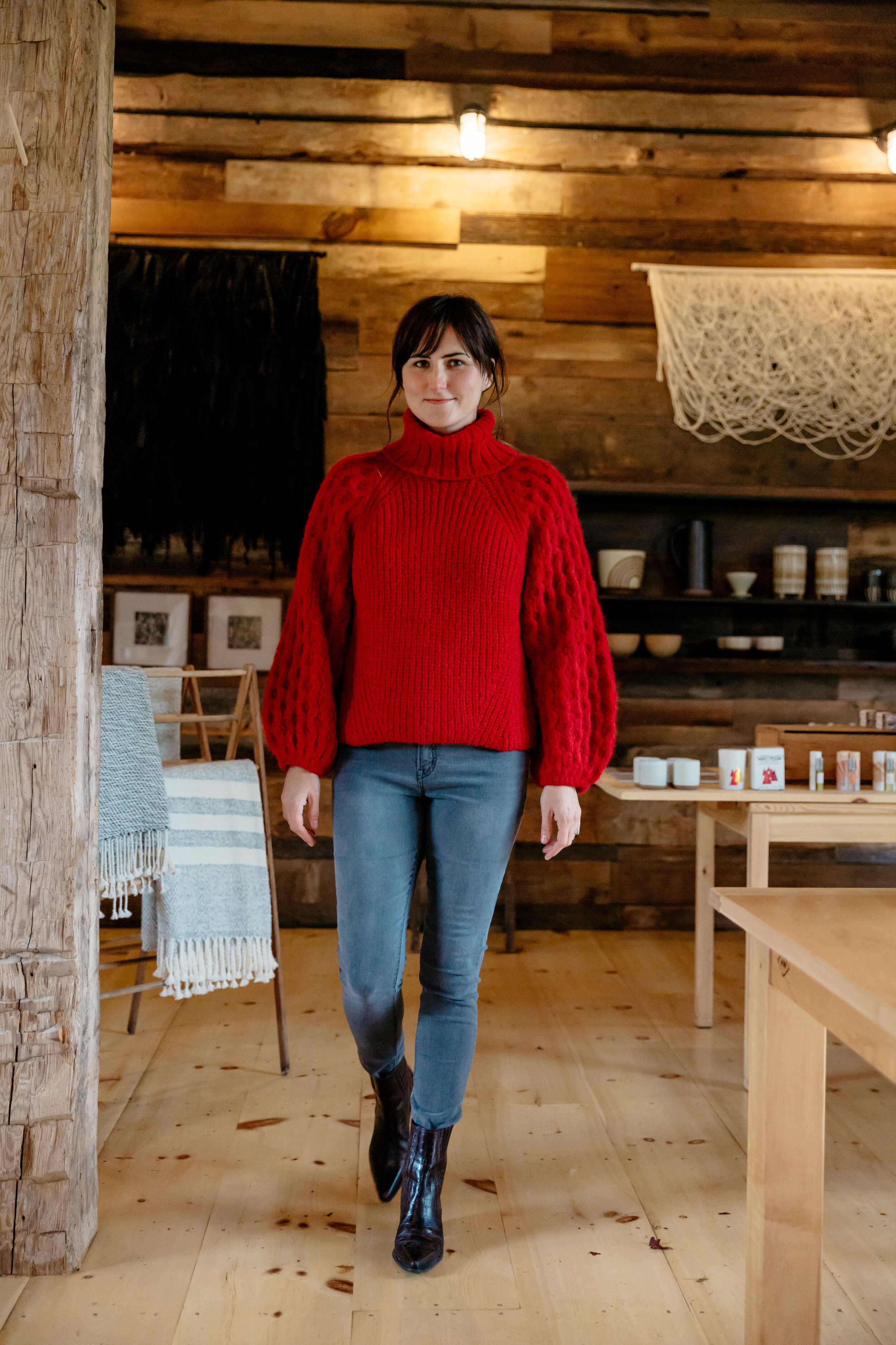 Dana wears Fall 19  Nina sweater  in Persimmon red. Nina is also available in Oatmeal melange and Navy.