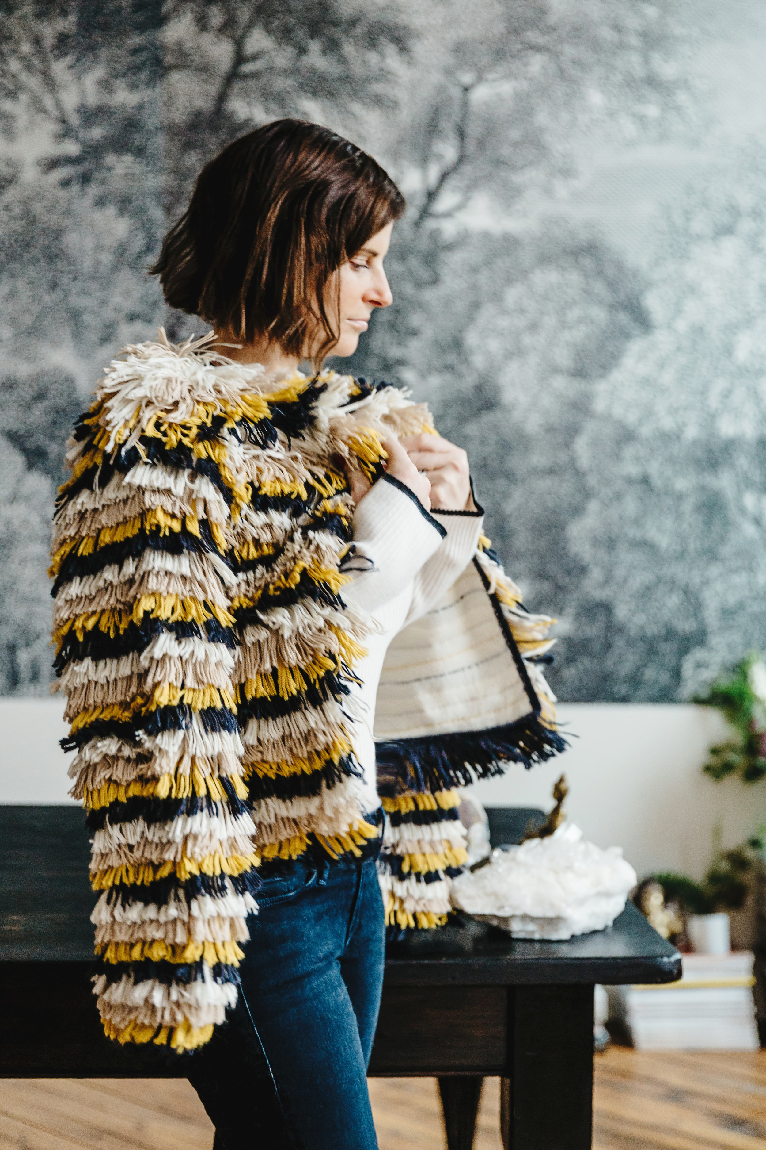 Courtney wears  Jenna jacket  (made by Bolivian artisans) +  Aura crew neck  in Ivory
