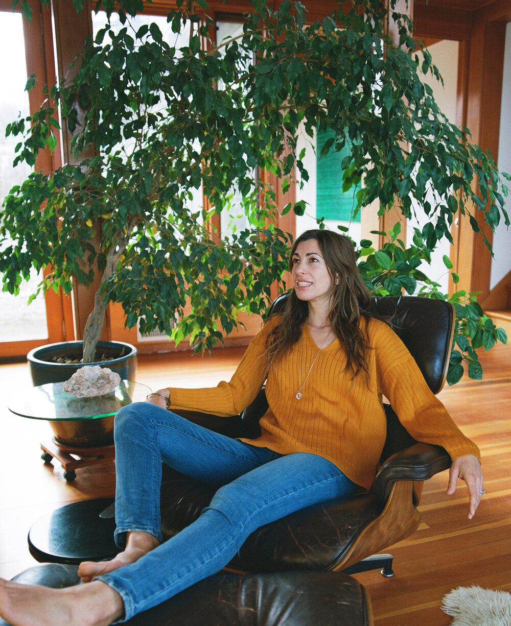 Jana wears the  Cara Sweater  in Kumquat  SHOP HERE