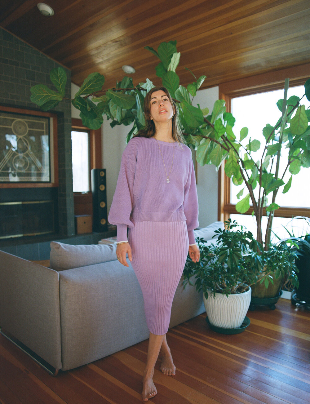 Jana wears  Layla sweater  in Azulene  SHOP HERE  +  Kira skirt  ( only available in Tobacco )  SHOP HERE